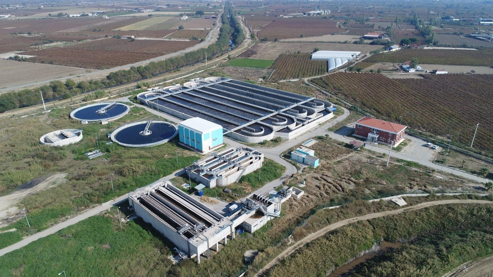 A wastewater treatment facility that received TL 330 million of investment in western Manisa province, Turkey, Nov. 12, 2020. (IHA Photo)