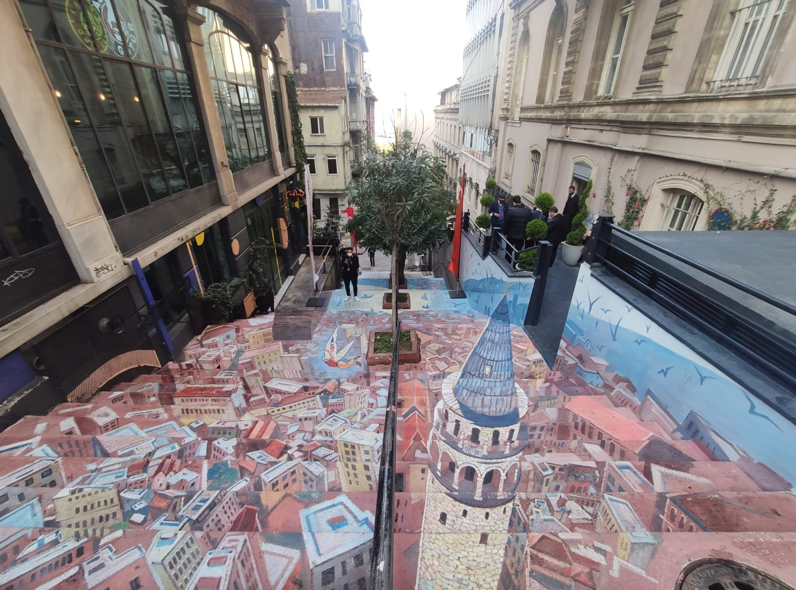 A 3-D mural of the Galata Tower adds a colorful touch to the stairs of Meşrutiyet Street, Istanbul, Turkey, Nov. 12, 2020. (DHA Photo)
