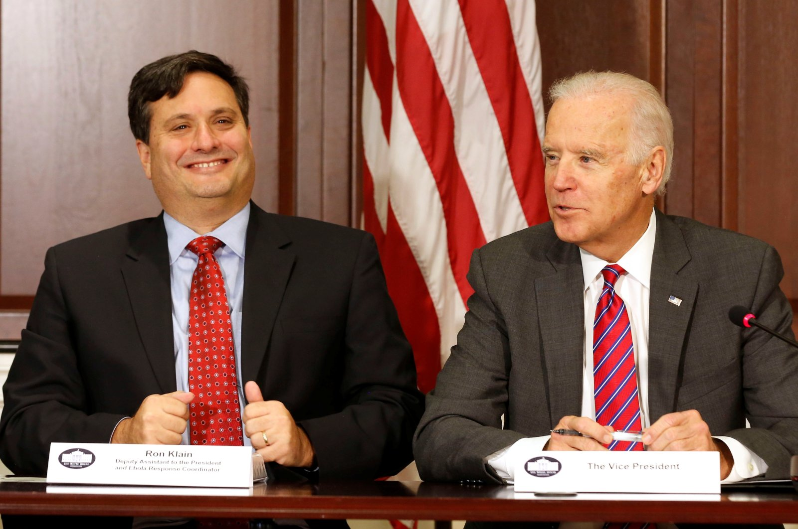 In this Nov. 13, 2014, file photo, then U.S. Vice President Joe Biden (R) is joined by Ebola Response Coordinator Ron Klain (L) in the Eisenhower Executive Office Building on the White House complex in Washington, U.S. (Reuters Photo)