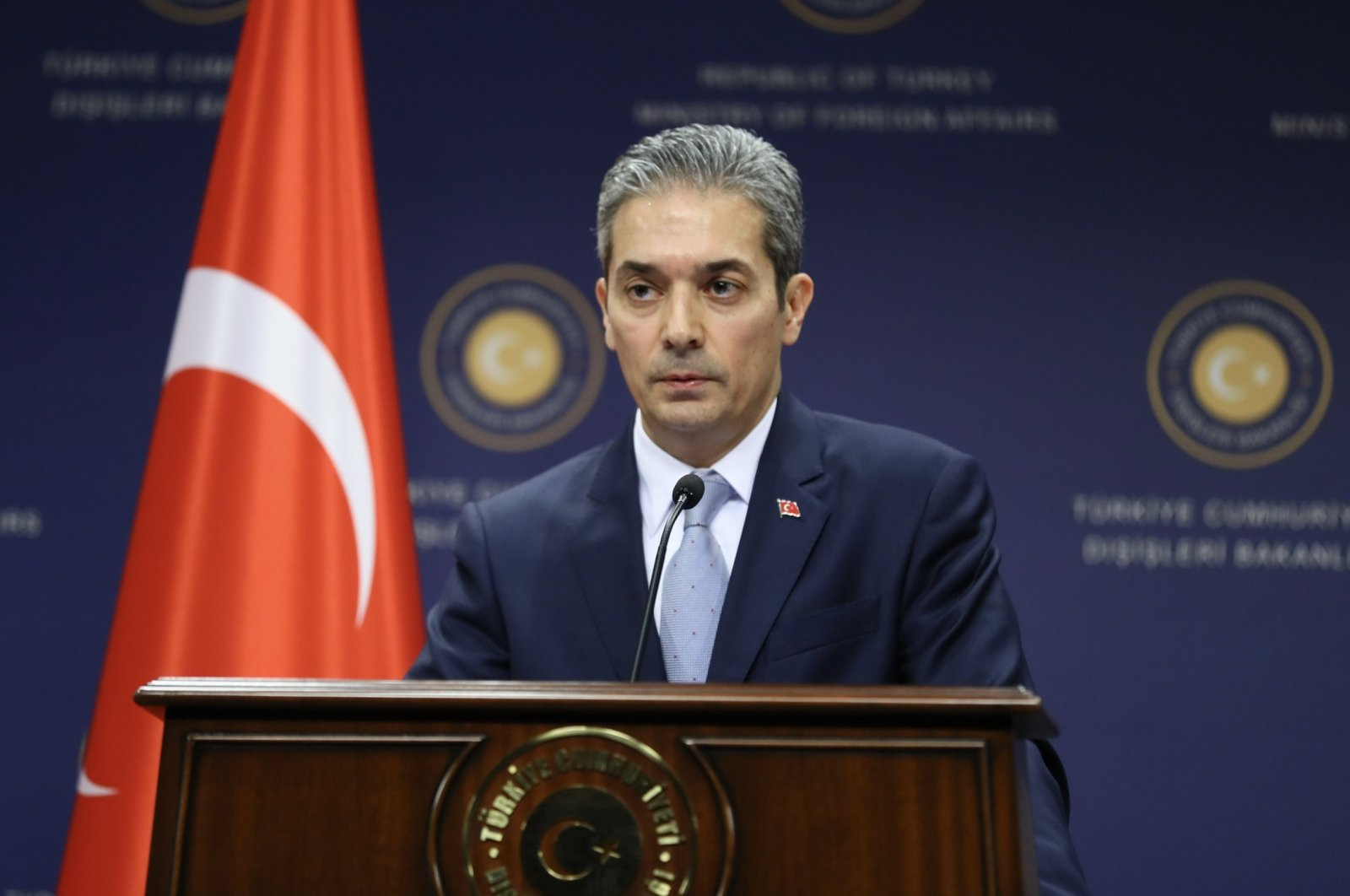 Foreign Ministry spokesperson Hami Aksoy speaks to reporters in Ankara, Turkey, April 18, 2018. (AA File Photo)