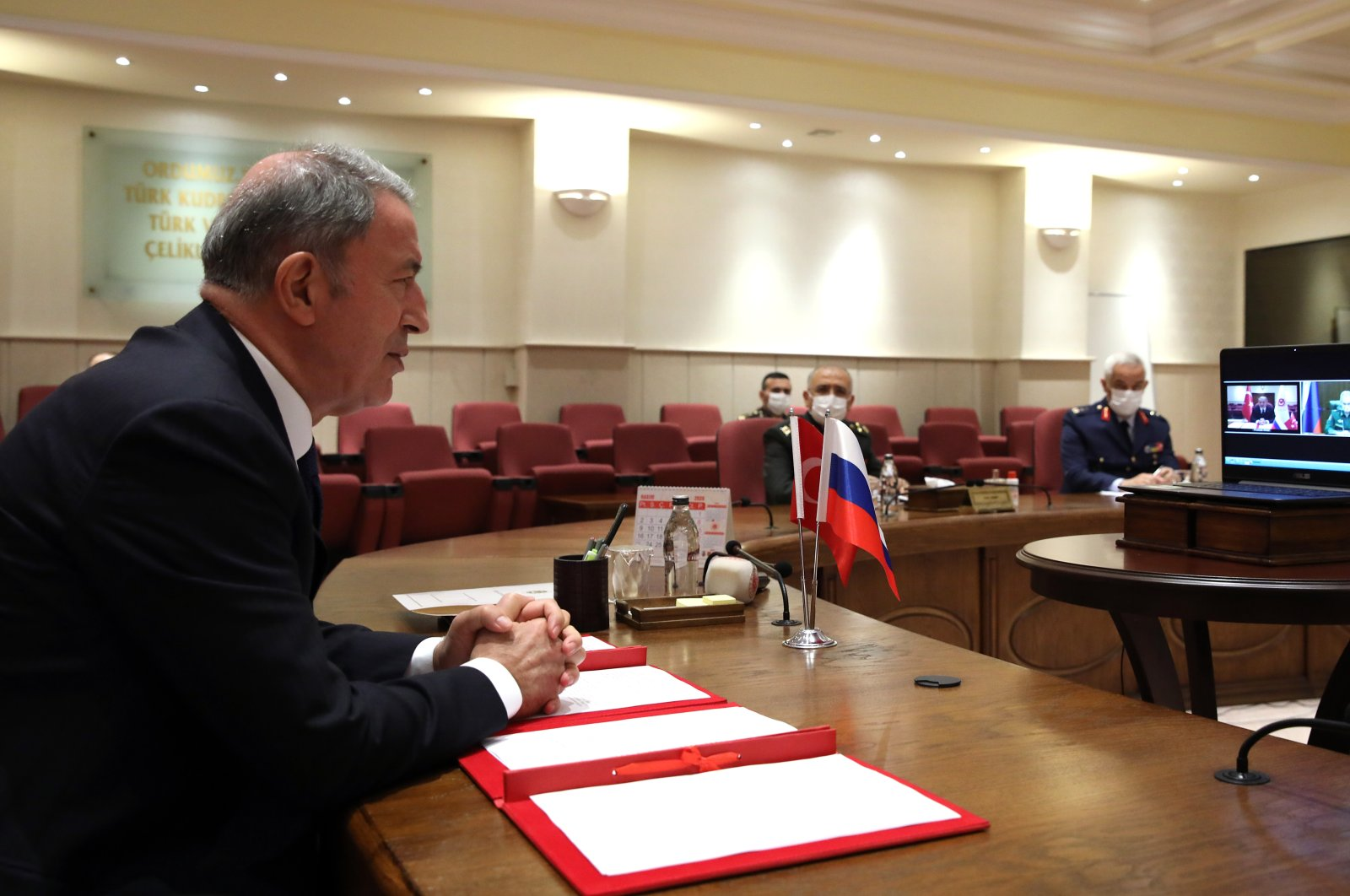 Defense Minister Hulusi Akar speaks during a videoconference with his Russian counterpart Sergei Shoigu, Ankara, Turkey, Nov. 11, 2020. (AA Photo)