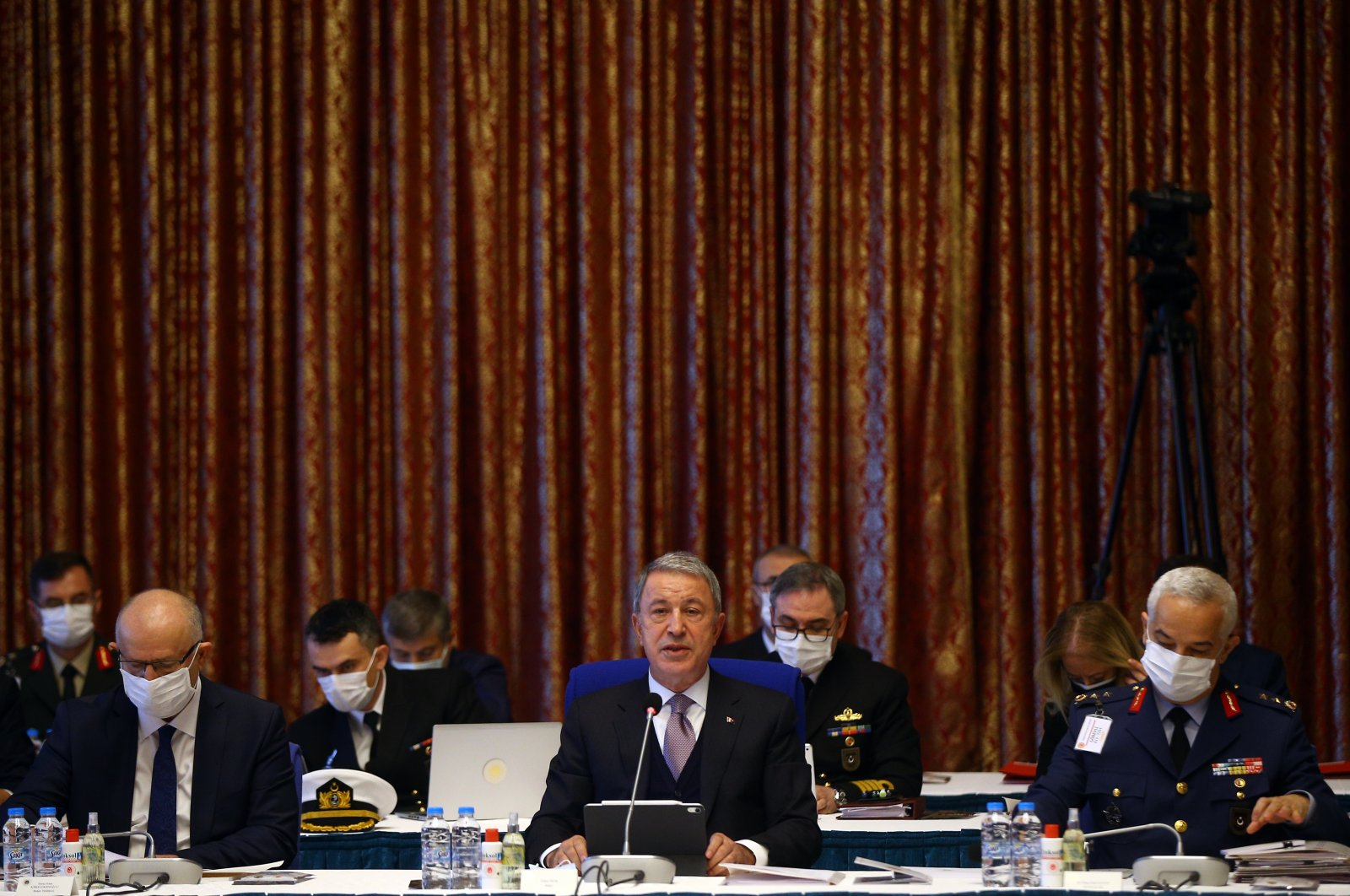 Defense Minister Hulusi Akar speaks during the Parliament's Planning and Budgetary Commission in Ankara, Turkey, Nov. 11, 2020. (AA Photo)