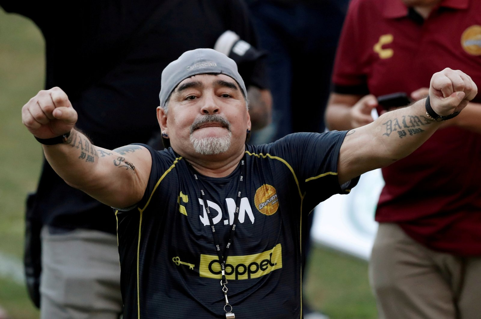 Diego Maradona reacts during his first training session as coach of Dorados football club, in Culiacan, Mexico, Sept. 10, 2018. (Reuters Photo)