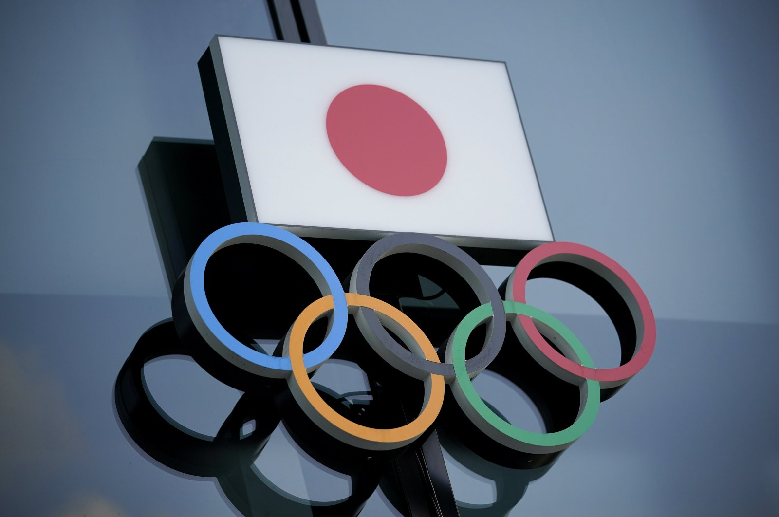Olympic rings with the Japanese national flag on display at the Japan Olympic Museum in Tokyo, Japan, June 29, 2020. (EPA Photo)