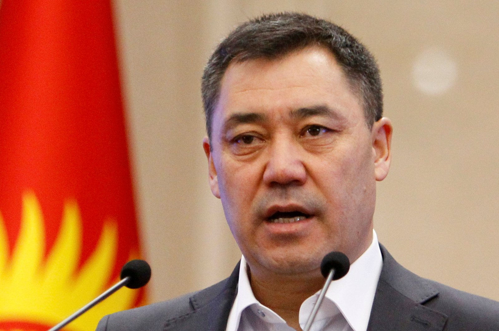 Kyrgyzstan's Prime Minister Sadyr Zhaparov delivers a speech during an extraordinary session of parliament in Bishkek, Kyrgyzstan, Oct. 16, 2020. (Reuters Photo)