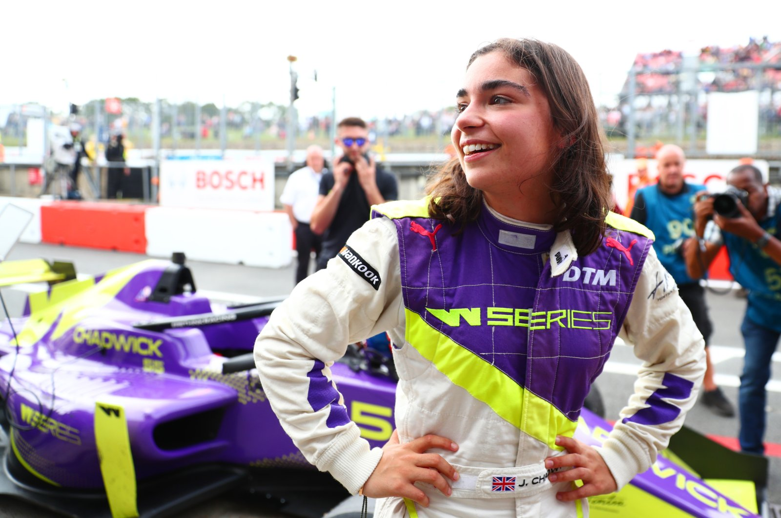 Jamie Chadwick reacts after winning the inaugural W Series Championship at Brands Hatch in Longfield, England, Aug. 11, 2019. (Getty Images)