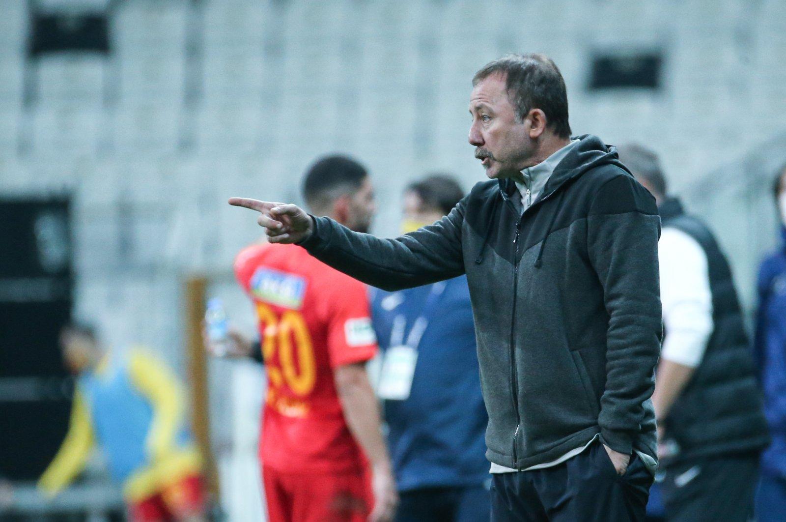 Beşiktaş coach Sergen Yalçın reacts during a Süper Lig match against Malatyaspor, in Istanbul, Turkey, Nov. 1, 2020. (AA Photo)