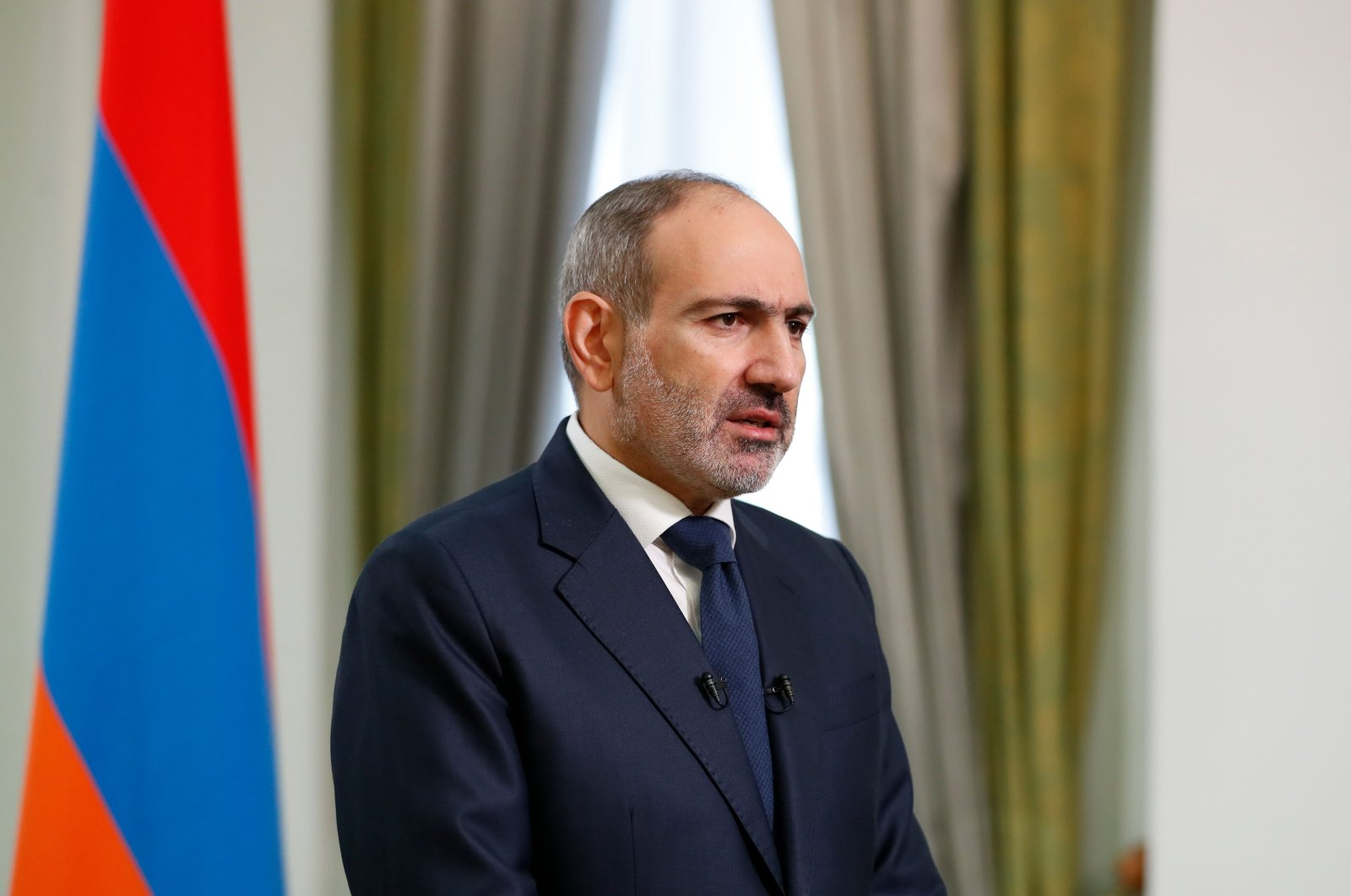 Armenian Prime Minister Nikol Pashinyan addressing the nation in Yerevan, Armenia, Nov. 12, 2020. (AFP)