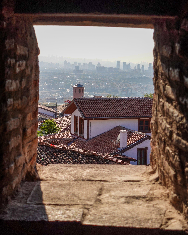A view of Ankara through a window at the city walls. (Photo by Argun Konuk)