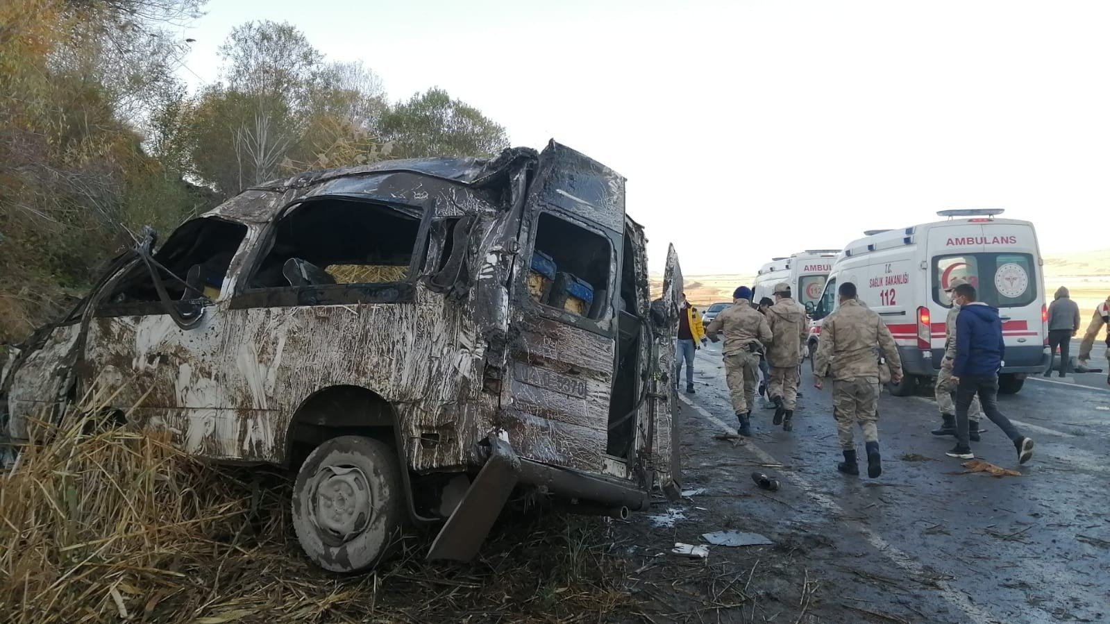 A view of the crashed minibus, in Van province, eastern Turkey, Nov. 13, 2020. (IHA Photo)
