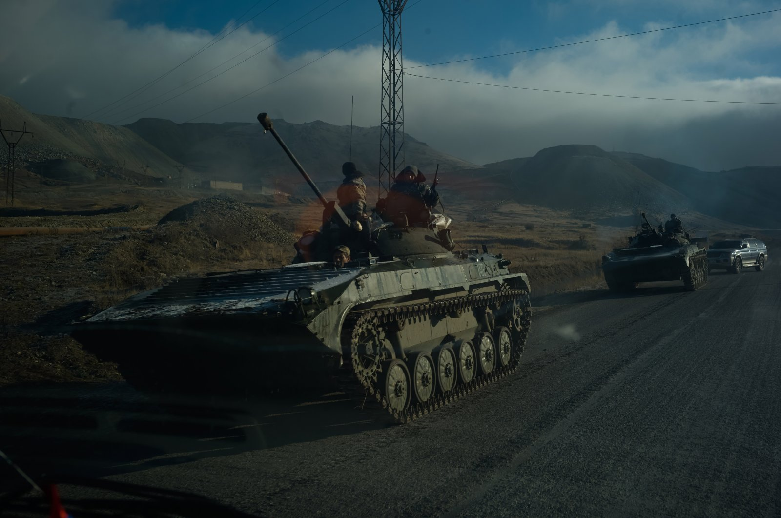 Armenian tanks leave the Nagorno-Karabakh region following the end of the war with Azerbaijan, in Vardenis, Armenia, Nov. 12, 2020. (Photo by Getty Images)