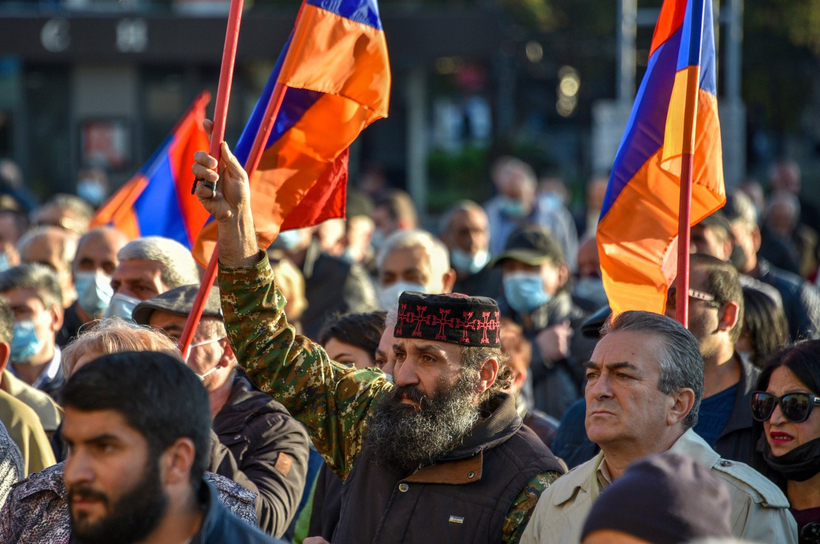 People protest during a rally against the country's agreement to end fighting with Azerbaijan over the Nagorno-Karabakh region in Yerevan, Armenia, Nov. 12, 2020. (AFP Photo)