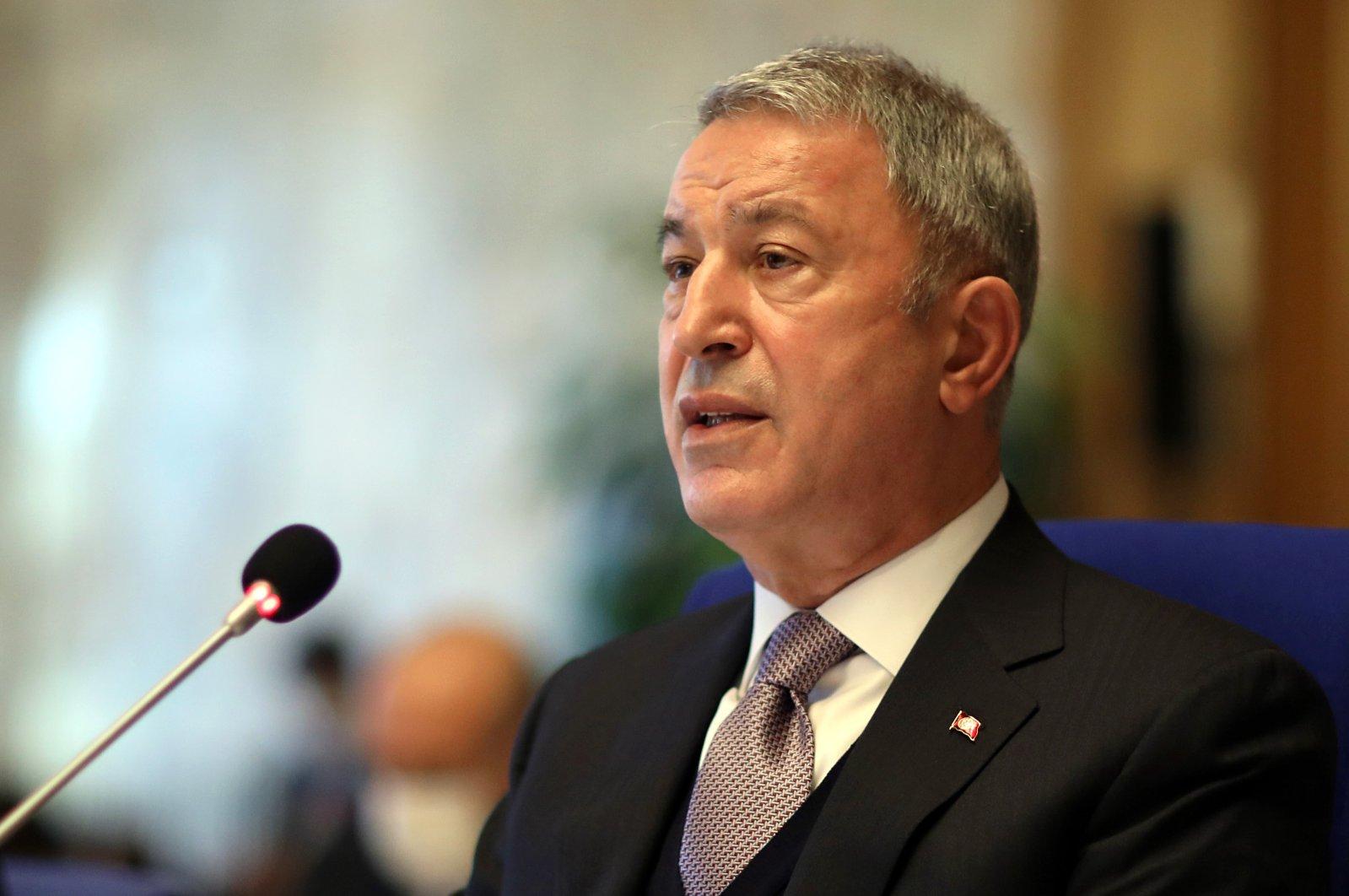 Defense Minister Hulusi Akar addresses Parliament's Planning and Budget Committee, in Ankara, Turkey, Nov.12, 2020. (AA Photo)