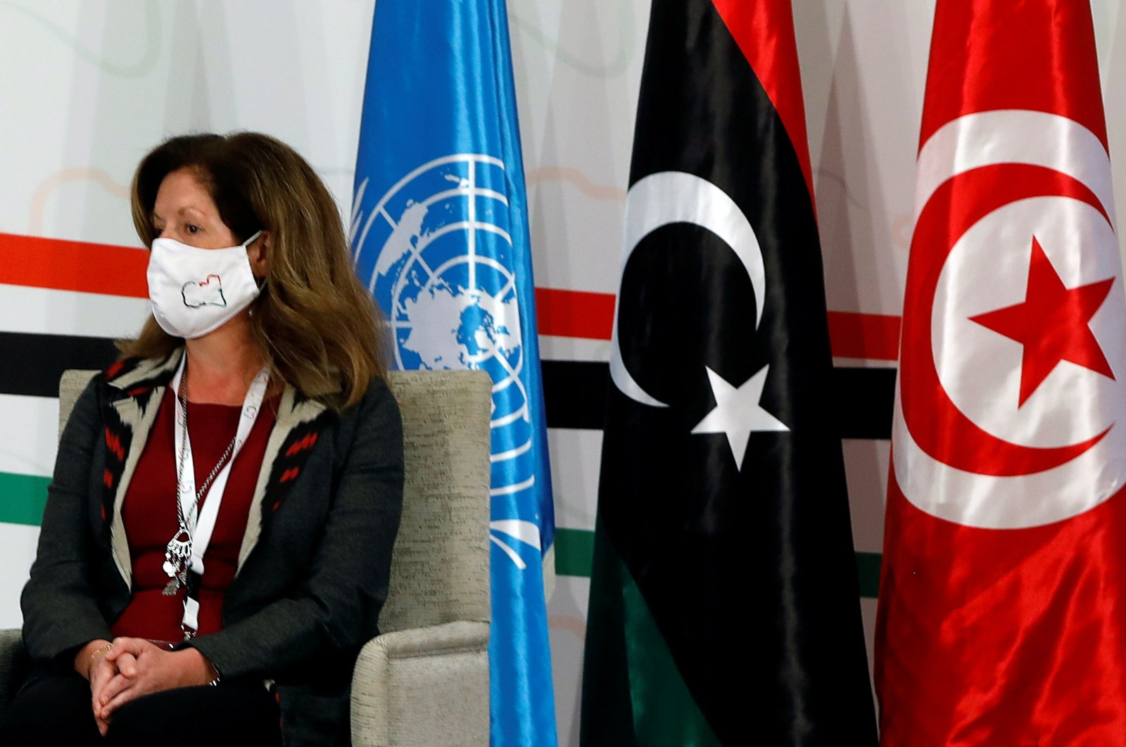 Deputy Special Representative of the U.N. Secretary-General for Political Affairs in Libya Stephanie Williams attends the Libyan Political Dialogue Forum in Tunis, Tunisia, Nov. 9, 2020. (REUTERS Photo)