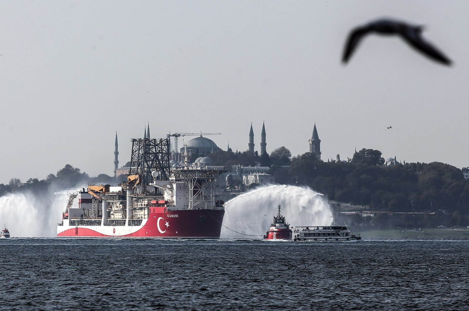 Turkey's third drillship Kanuni is seen off Istanbul as it departs for the Black Sea to carry out drilling activities, Nov. 13, 2020. (AA Photo)