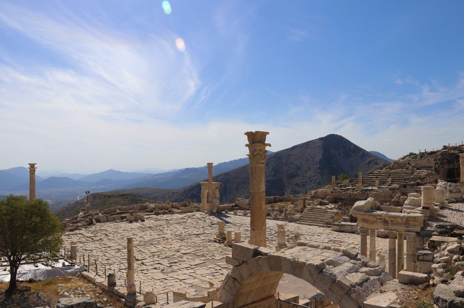The agora of the ancient city of Sagalassos, Burdur province, southwestern Turkey, Nov. 12, 2020. (AA Photo)