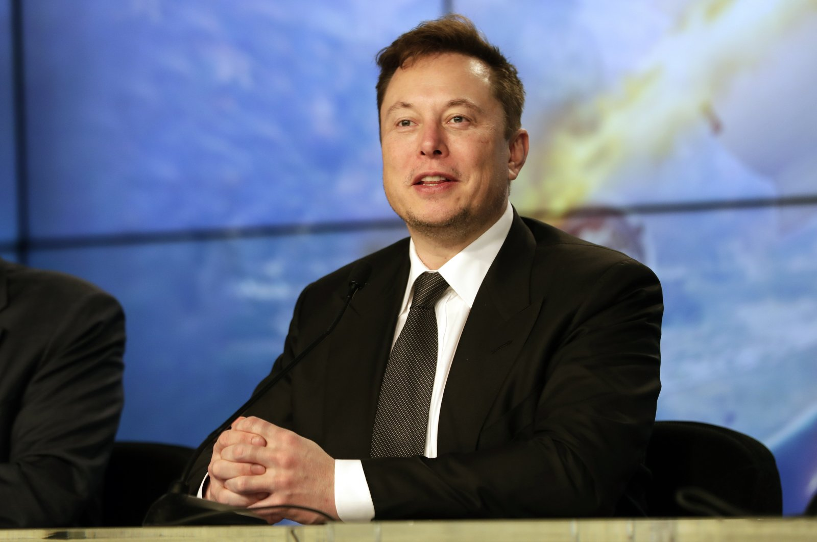 Elon Musk, founder, CEO and chief engineer and designer of SpaceX, speaks during a news conference after a Falcon 9 SpaceX rocket test flight, in the U.S. state of Florida, Jan. 19, 2020. (AP Photo)