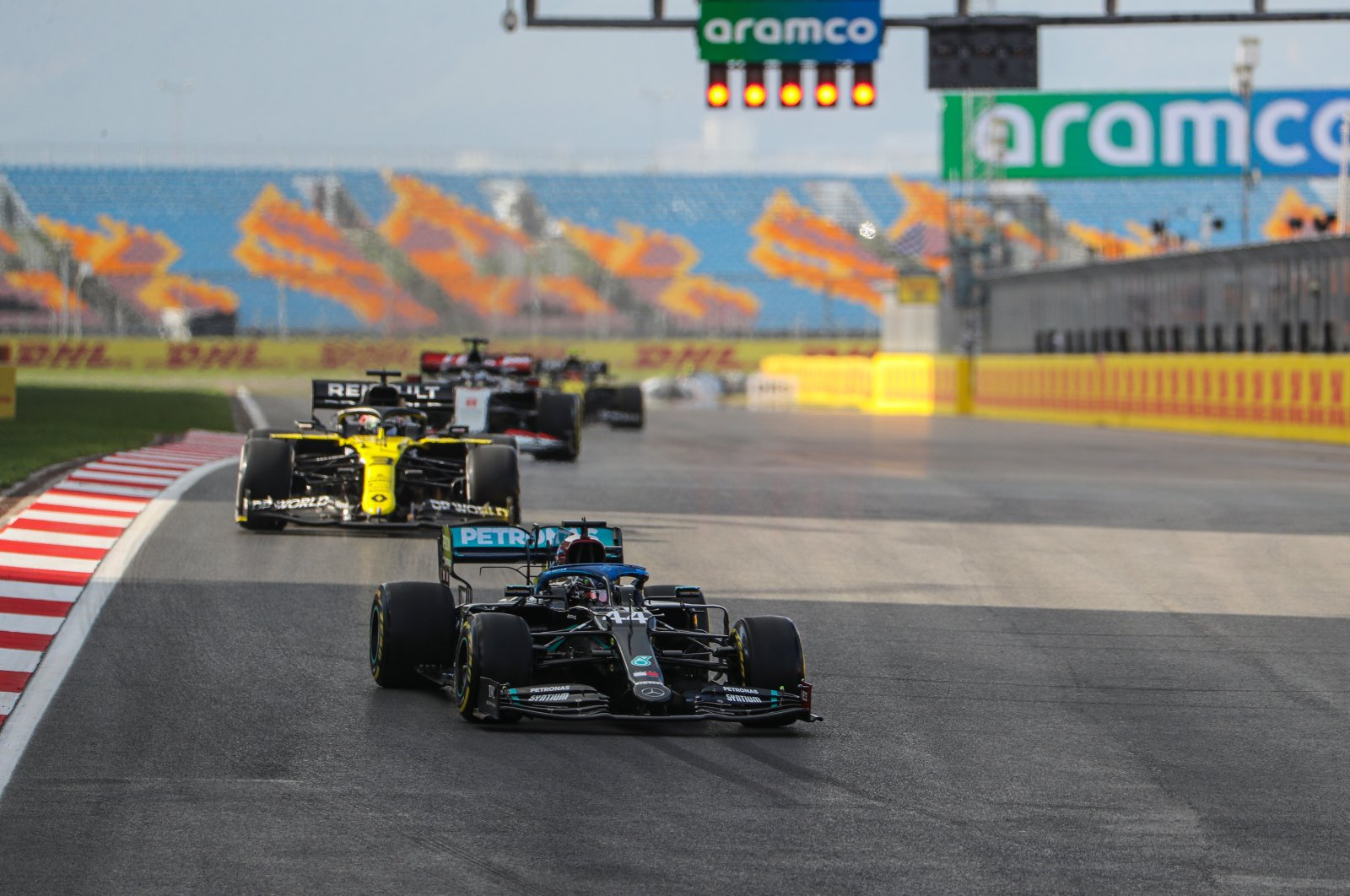 Mercedes driver Lewis Hamilton takes the lead during a practice session ahead of the Turkish Grand Prix in Istanbul, Turkey, Nov. 13, 2020. (AA Photo)