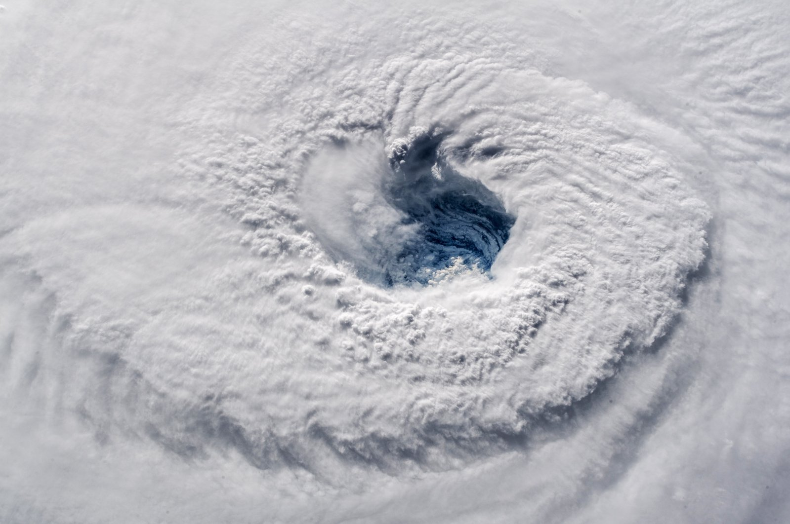 In this photo provided by NASA, Hurricane Florence churns over the Atlantic Ocean heading for the U.S. East Coast as seen from the International Space Station, Sept. 12, 2018. (Alexander Gerst/ESA/NASA via AP)