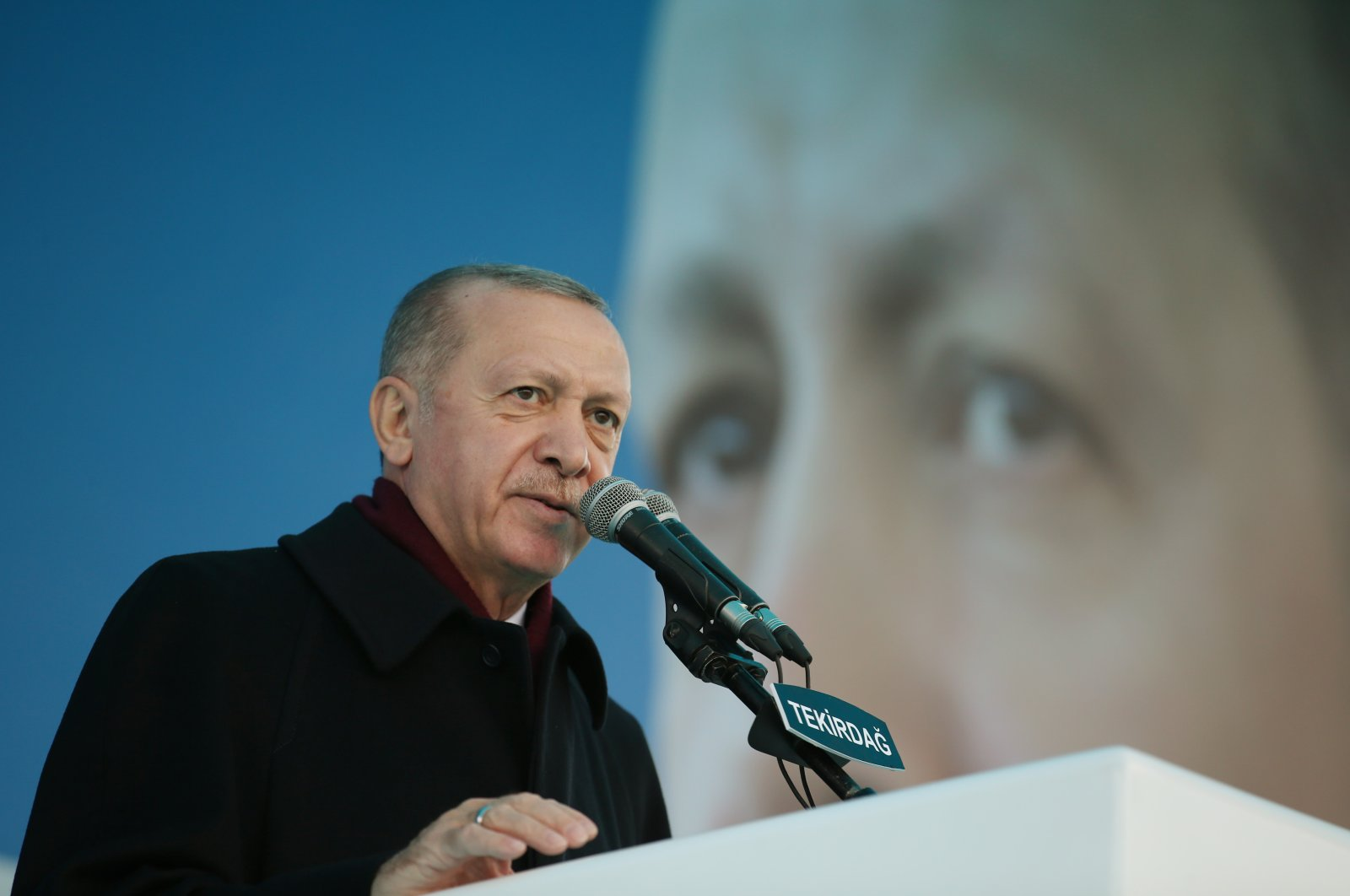 President Recep Tayyip Erdoğan delivers a speech at the provincial convention of his ruling Justice and Development Party (AK Party) in the northwestern province of Tekirdağ, Turkey, Nov. 13, 2020. (AA Photo)