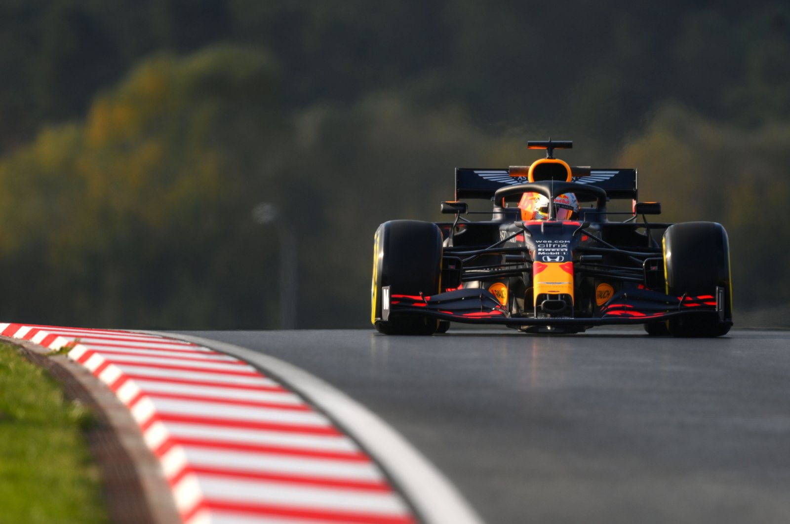 Red Bull's Dutch driver Max Verstappen drives during the second practice session in Istanbul, Turkey, Nov. 13, 2020. (AFP Photo)