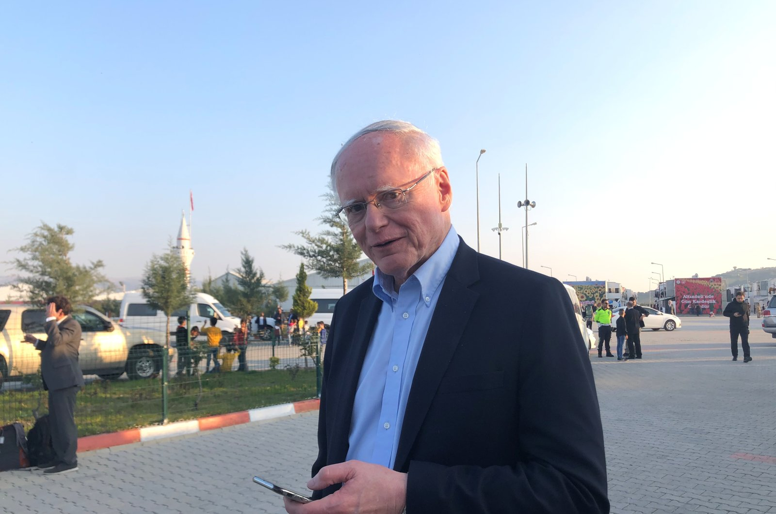 James Jeffrey, the U.S. envoy for Syria, is pictured outside the Boynuyoğun refugee camp near Hatay, Turkey, March 3, 2020. (Reuters Photo)