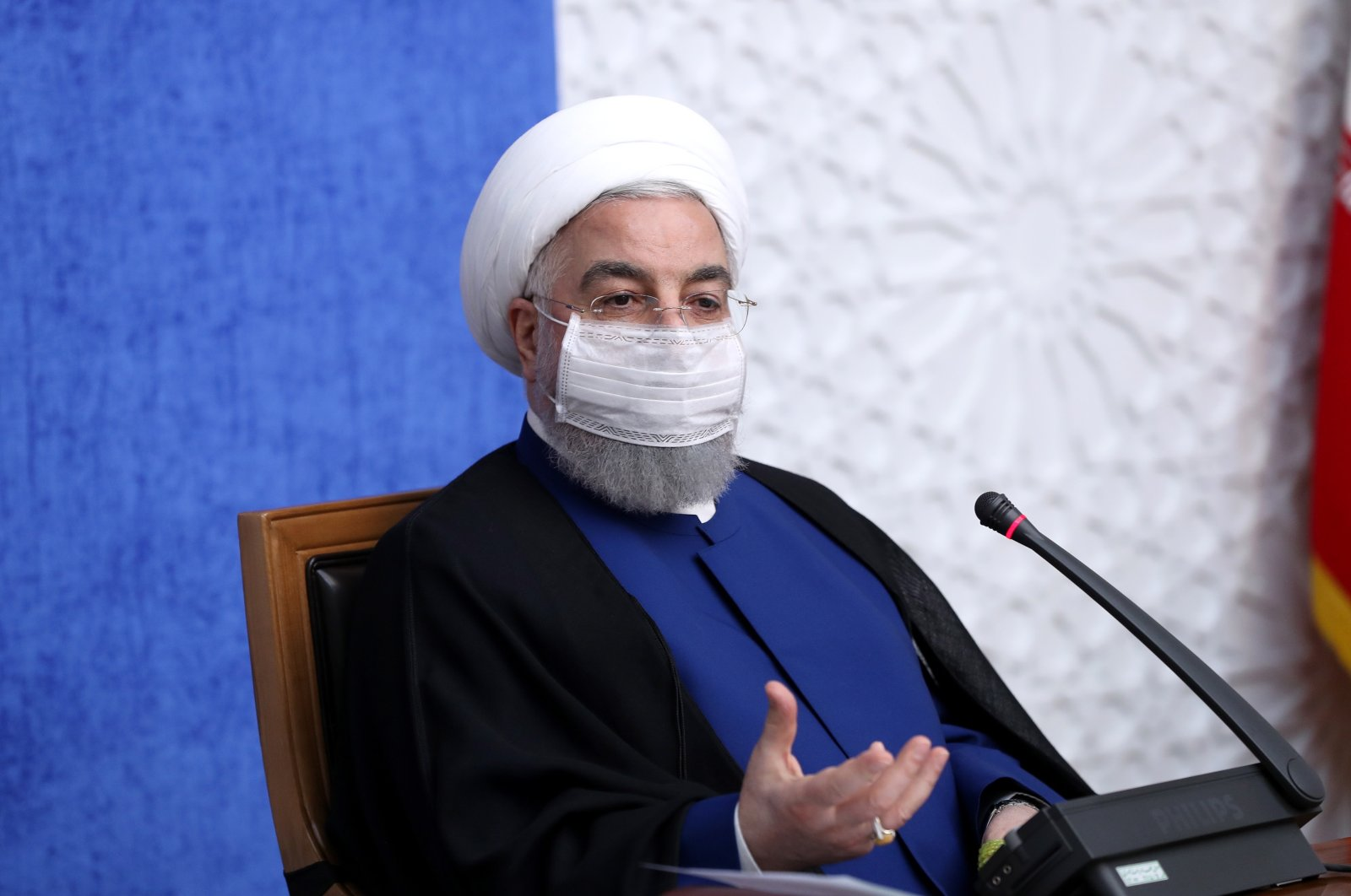 A handout photo made available by the presidential office shows Iranian President Hassan Rouhani speaking during an economic government meeting in Tehran, Iran, Nov. 8, 2020. (EPA Photo)