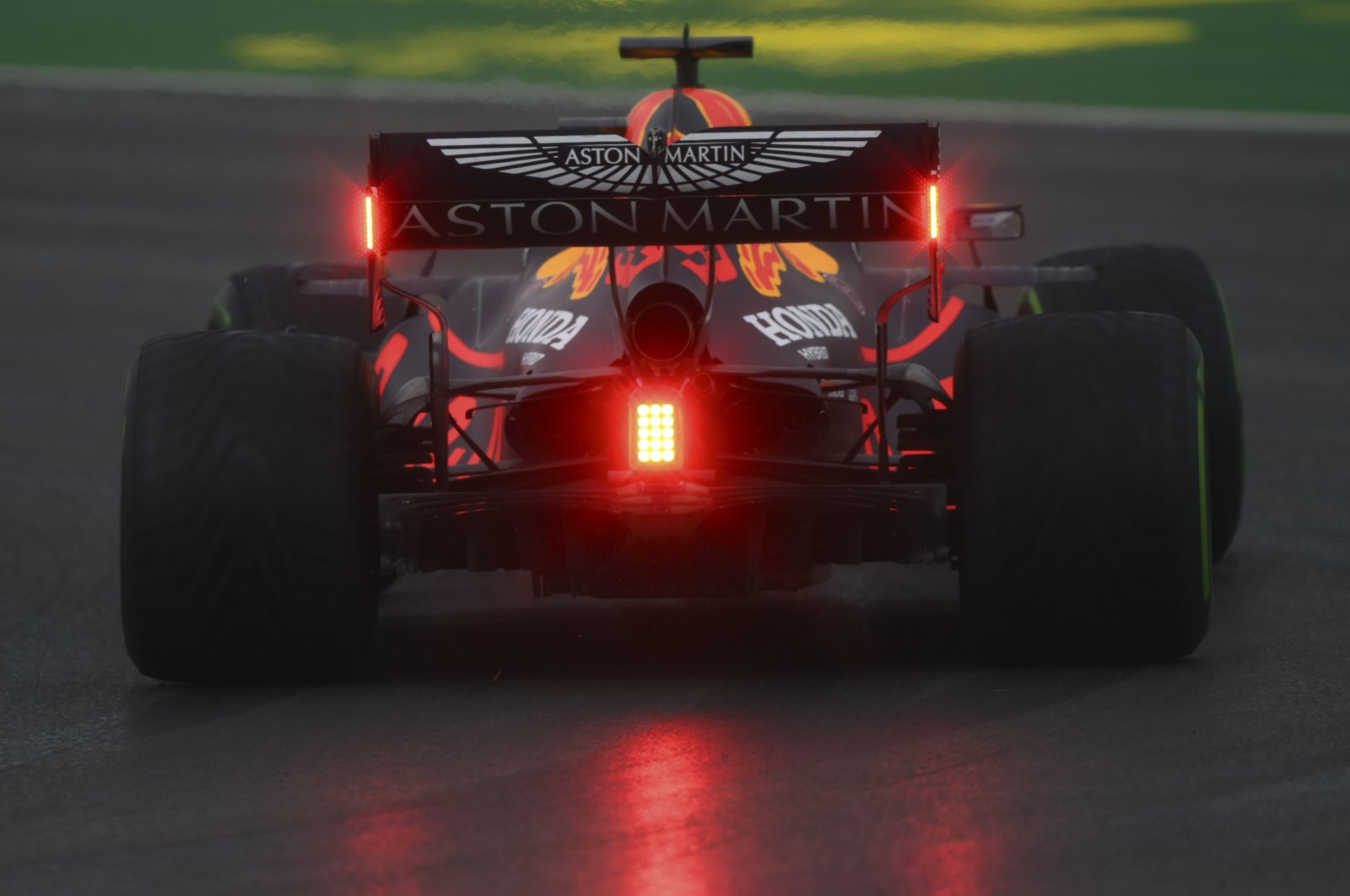 Red Bull driver Max Verstappen of the Netherlands steers his car during the third practice session at the Istanbul Park circuit racetrack in Istanbul, Nov. 14, 2020. (Pool via AP)