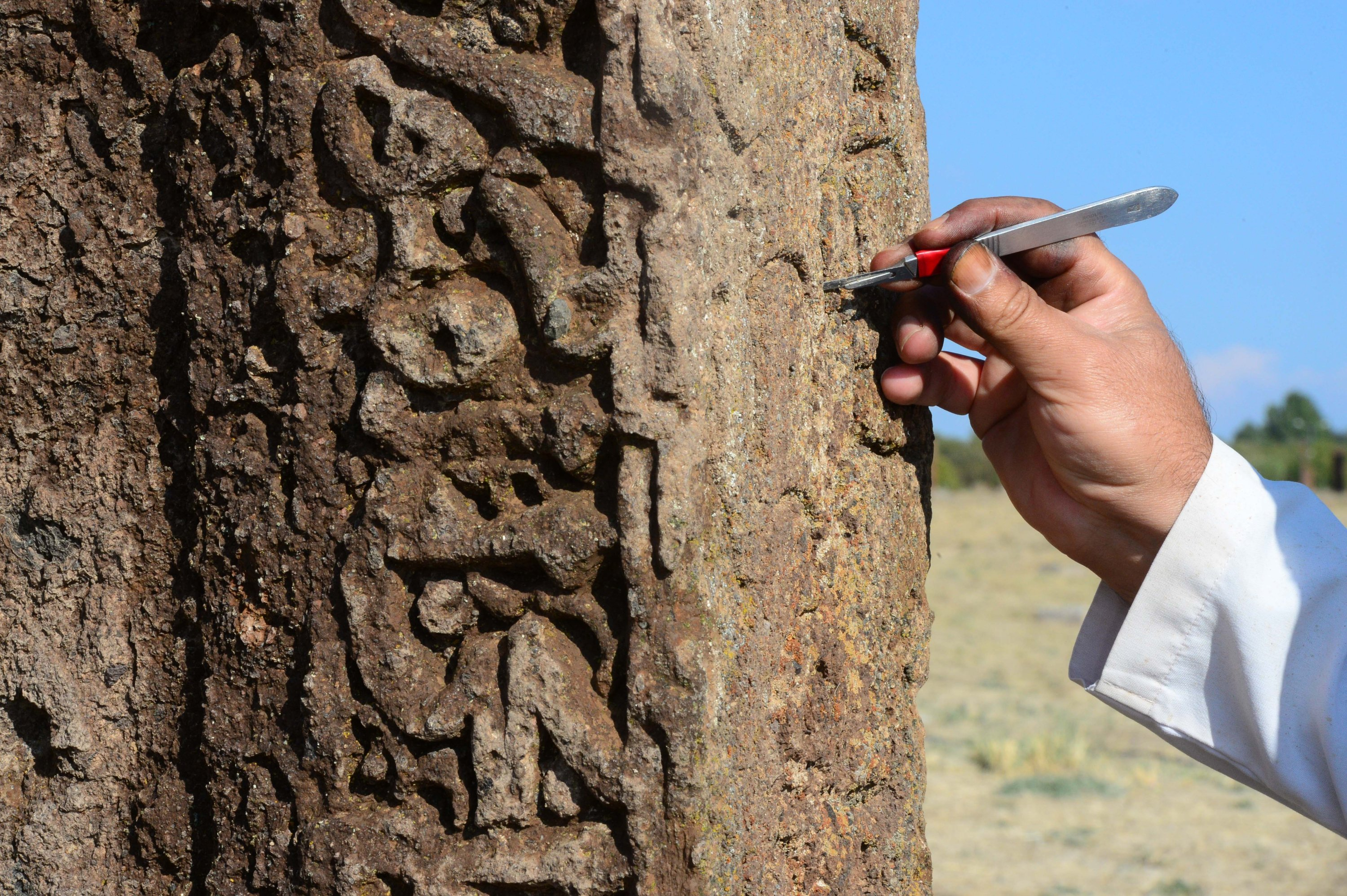 A close-up of the hand of an archaeologist working on a tombstone in the Seljuk Meydan Cemetery, Bitlis, eastern Turkey, Nov. 12, 2020. (AA PHOTO)