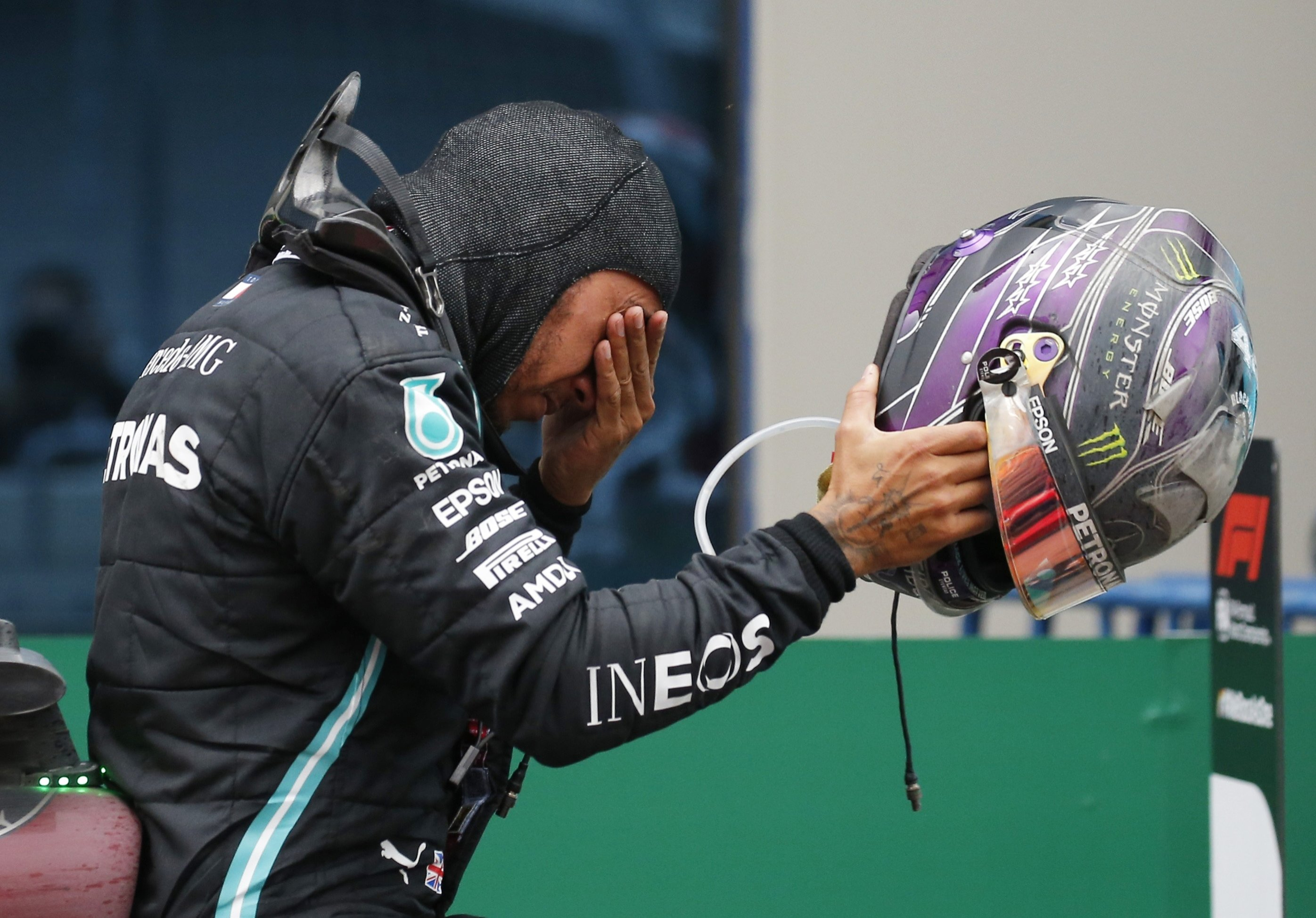Mercedes driver Lewis Hamilton reacts winning the Formula One Turkish Grand Prix in Istanbul, Turkey, Nov. 15, 2020. (Reuters Photo)