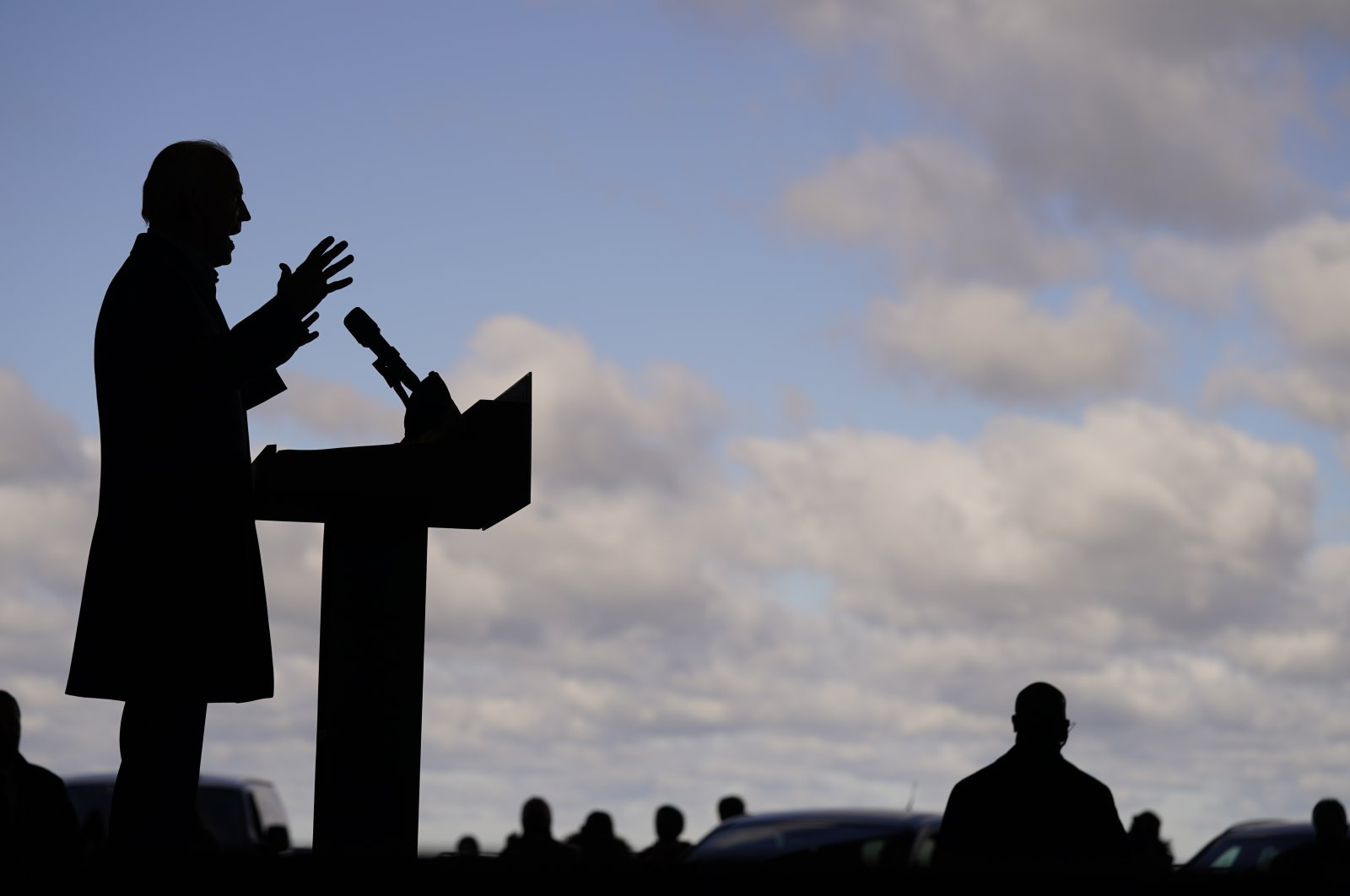 Democratic candidate Joe Biden speaks at a rally a day before U.S. presidential elections, at Cleveland Burke Lakefront Airport, in Cleveland, Ohio, Nov. 2, 2020. (AP Photo)