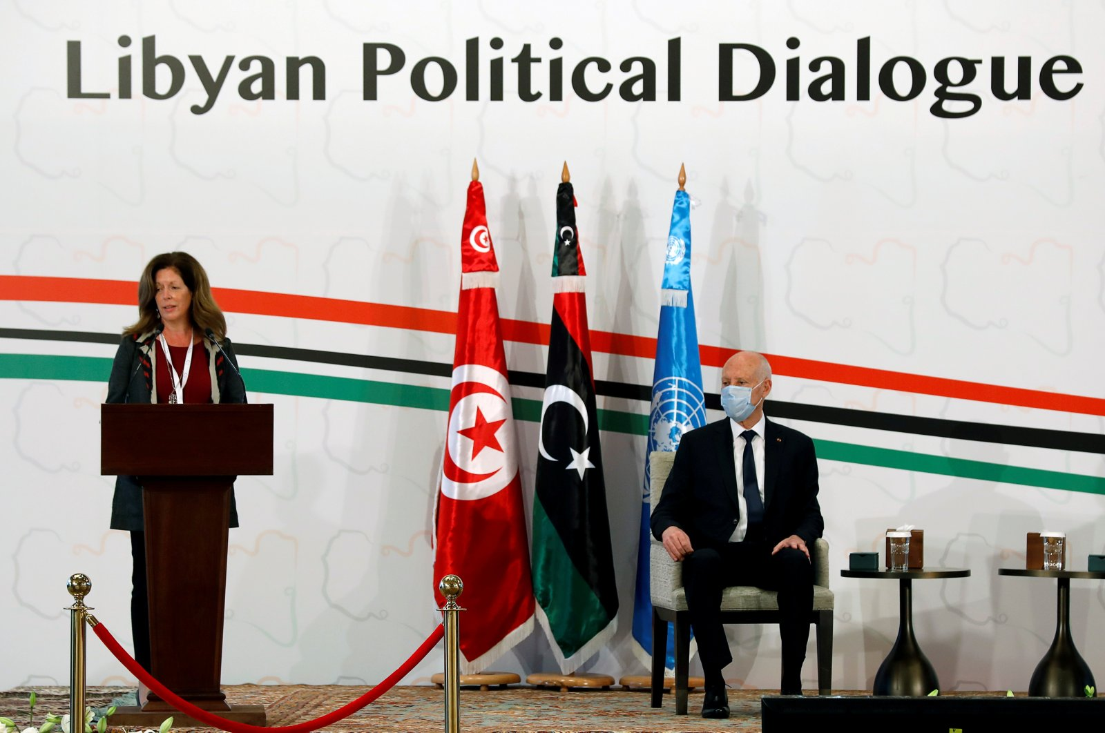 Deputy Special Representative of the U.N. Secretary-General for Political Affairs in Libya Stephanie Williams speaks to Tunisia's President Kais Saied during the Libyan Political Dialogue Forum in Tunis, Tunisia, Nov. 9, 2020. (REUTERS Photo)