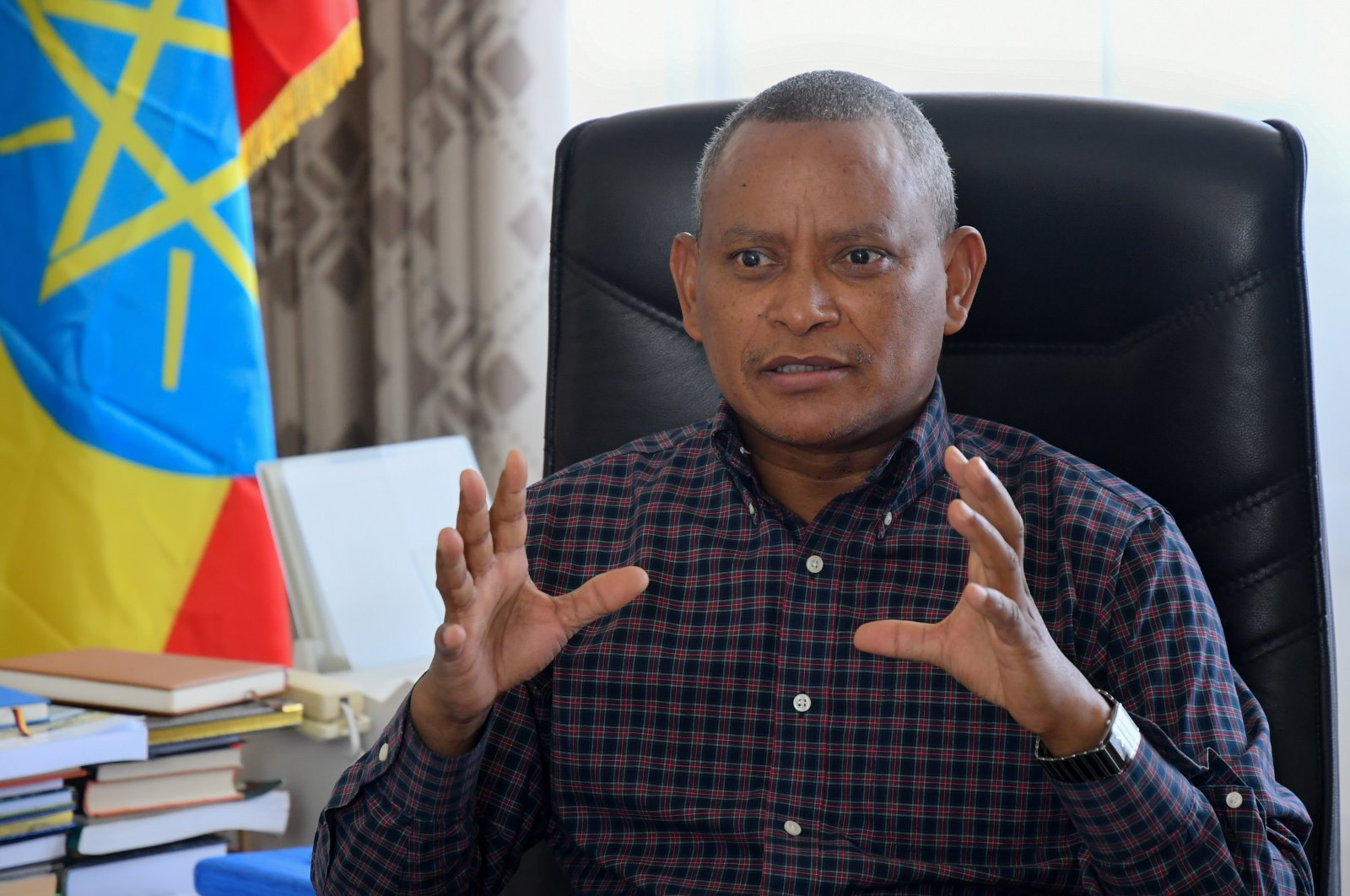 Debretsion Gebremichael, the chairperson of the Tigray People's Liberation Front (TPLF) and the current president of Tigray Region, speaks during an interview in the Mekele Tigray region of Ethiopia, June 8, 2019 (EPA File Photo)