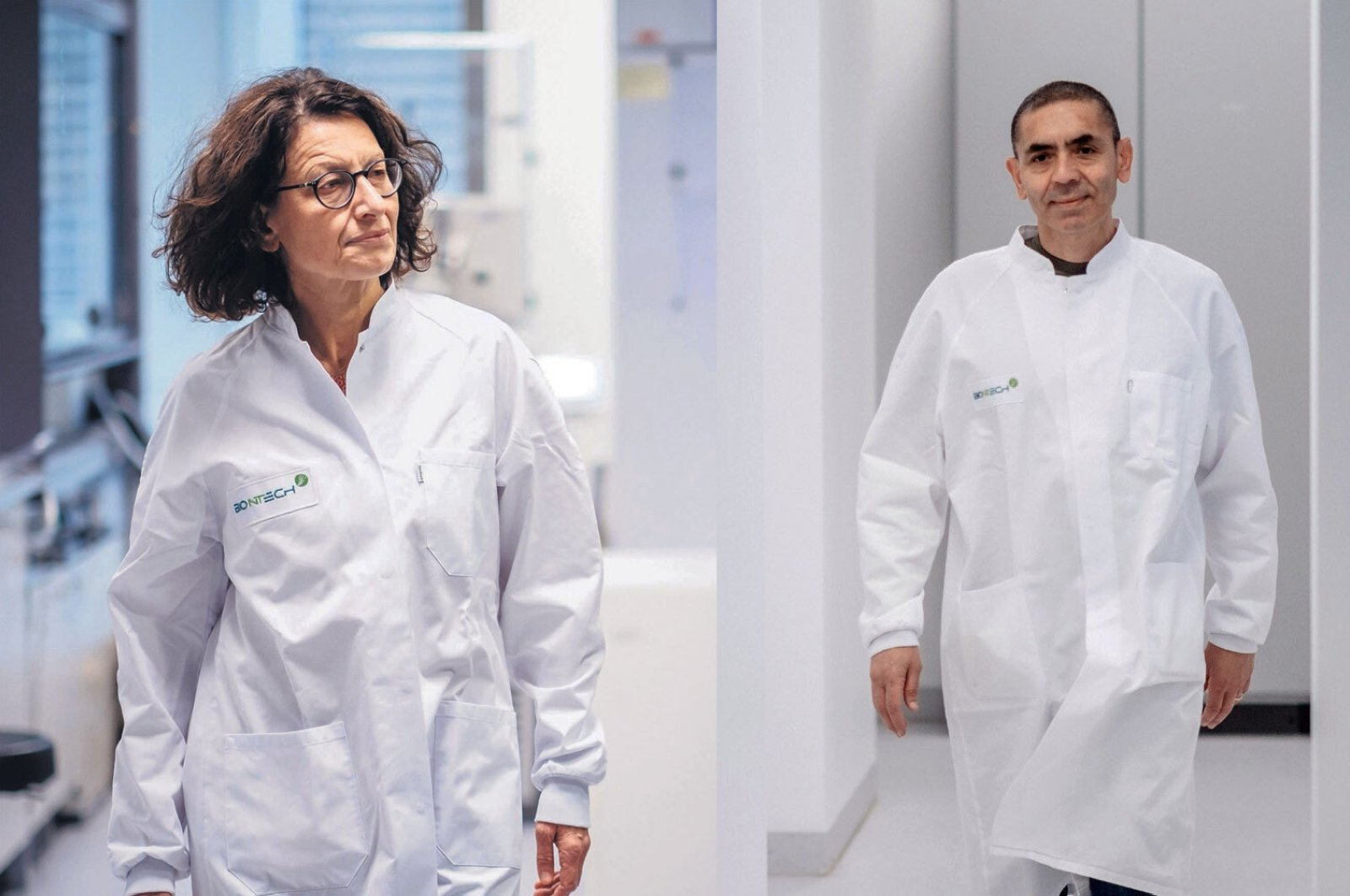 Özlem Türeci, chief medical officer of Biontech, and Uğur Şahin, CEO and co-founder of the company walk through one of the company's laboratories in file photos provided onSept. 2, 2020 and Nov. 12, 2020, respectively. (Photos by DPA and DHA)