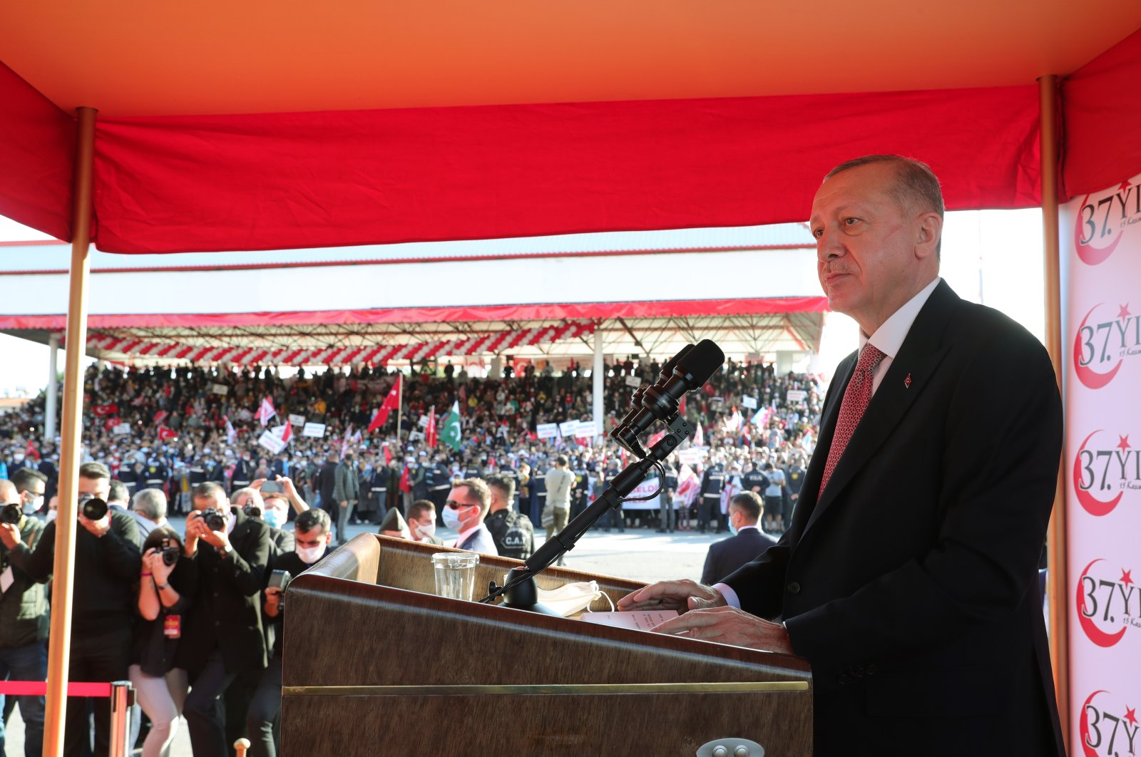 President Recep Tayyip Erdoğan speaks at a ceremony marking the 37th anniversary of the foundation of the Turkish Republic of Northern Cyprus (TRNC) in Lefkoşa (Nicosia), Nov. 15, 2020. (AA Photo)