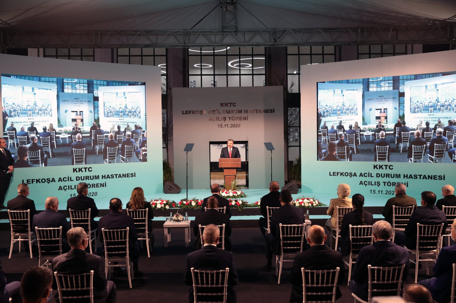 Turkish Health Minister Fahrettin Koca speaks at the opening ceremony of the Lefkoşa Emergency Hospital, Lefkoşa, Turkish Republic of Northern Cyprus (TRNC), Nov. 15, 2020. (AA Photo)
