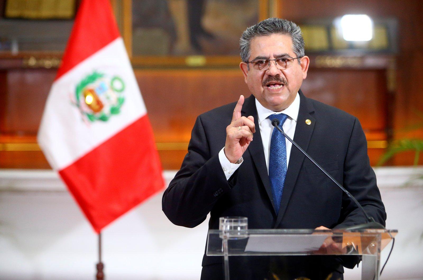 Peru's interim President Manuel Merino announces his resignation in a televised address, in Lima, Peru, Nov. 15, 2020. (Reuters Photo)