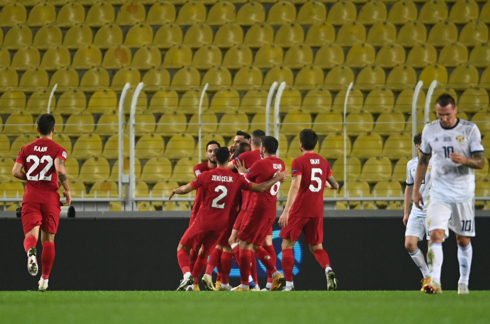 Turkey players celebrate a goal against Russia during a UEFA Nations League match in Istanbul, Turkey, Nov. 15, 2020. (AFP Photo)