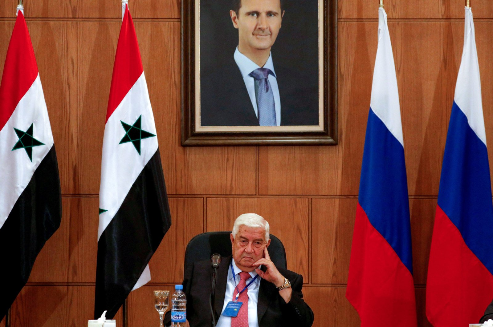 Syria's Foreign Minister Walid al-Moalem attends a press conference with Russian Deputy Prime Minister Yuri Borisov and Foreign Minister Sergei Lavrov in Damascus, Syria, Sept. 7, 2020. (Reuters Photo)