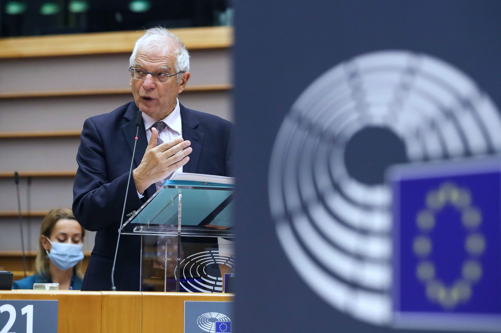 High Representative of the Union for Foreign Affairs and Security Policy Josep Borrell speaks on relations with the U.S. during a plenary session of the European Parliament in Brussels, Belgium, Nov. 11, 2020. (AFP Photo)