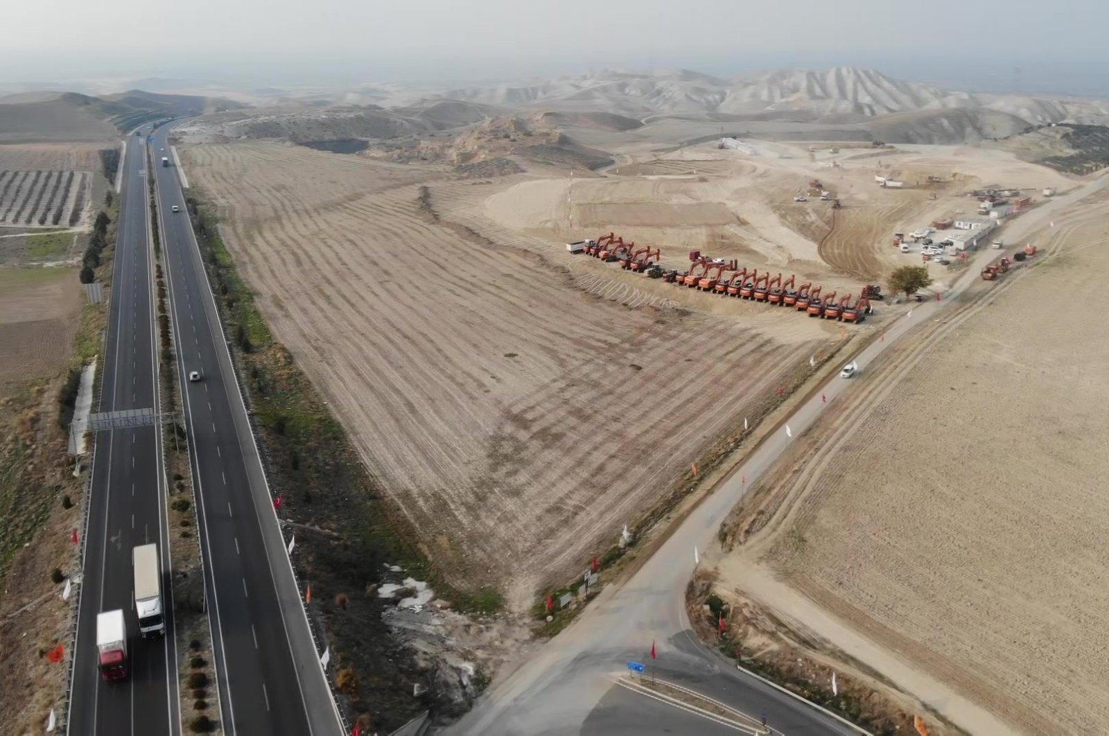 An aerial view shows the construction of the Aydın-Denizli highway in western Turkey, Nov. 16, 2020. (IHA Photo)