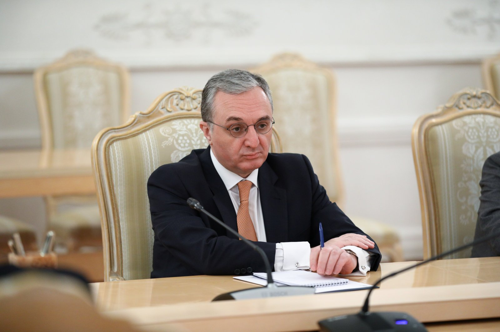 Armenian Foreign Minister Zohrab Mnatsakanyan attends a meeting with his Russian counterpart Sergey Lavrov in Moscow, Russia Oct. 21, 2020. (REUTERS Photo)