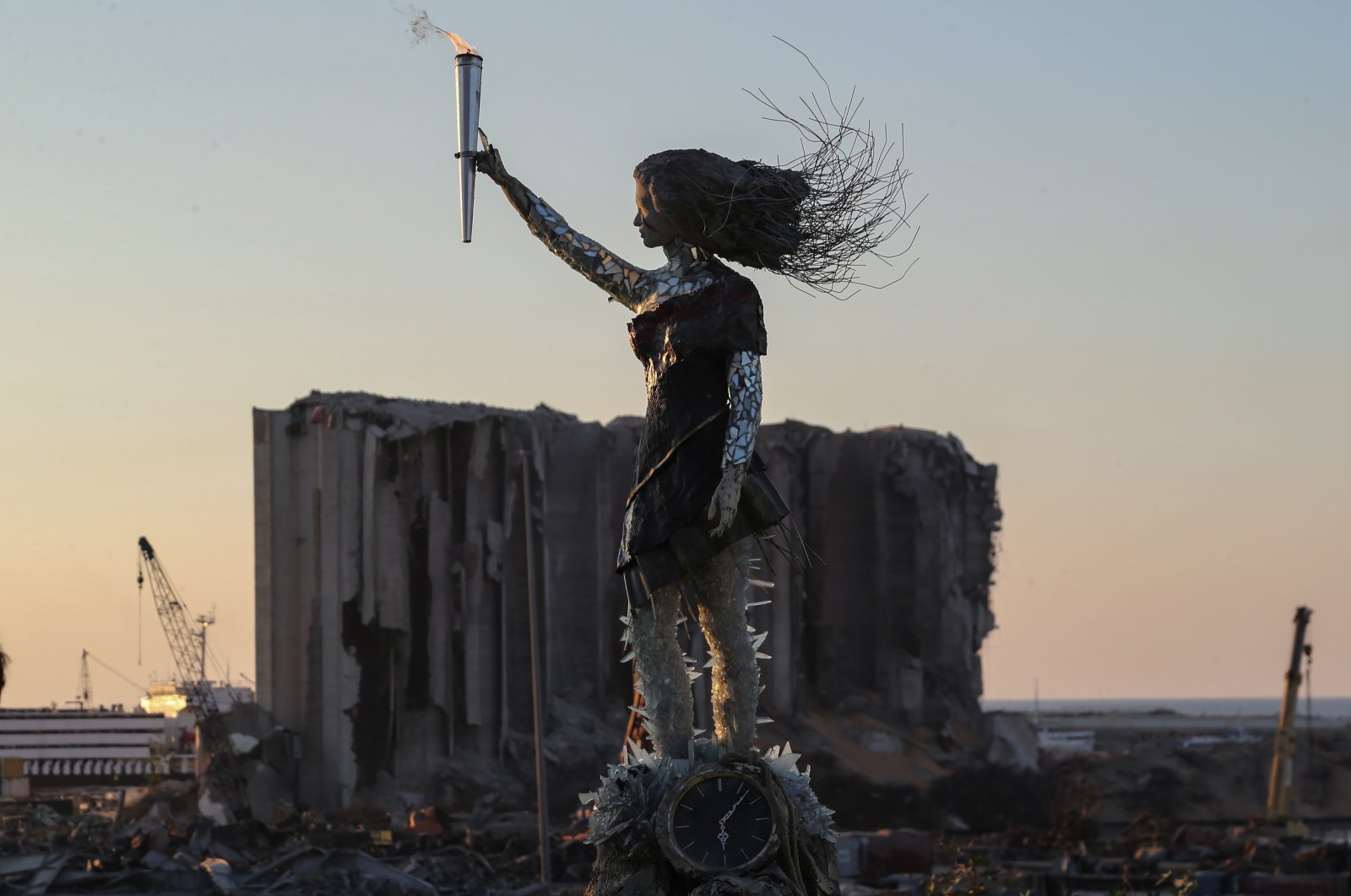 A statue of a woman carrying the torch of revolution made of glass and the rubble that resulted from the explosion at the Beirut port is seen in Beirut, Lebanon, Oct. 17, 2020. (EPA Photo)