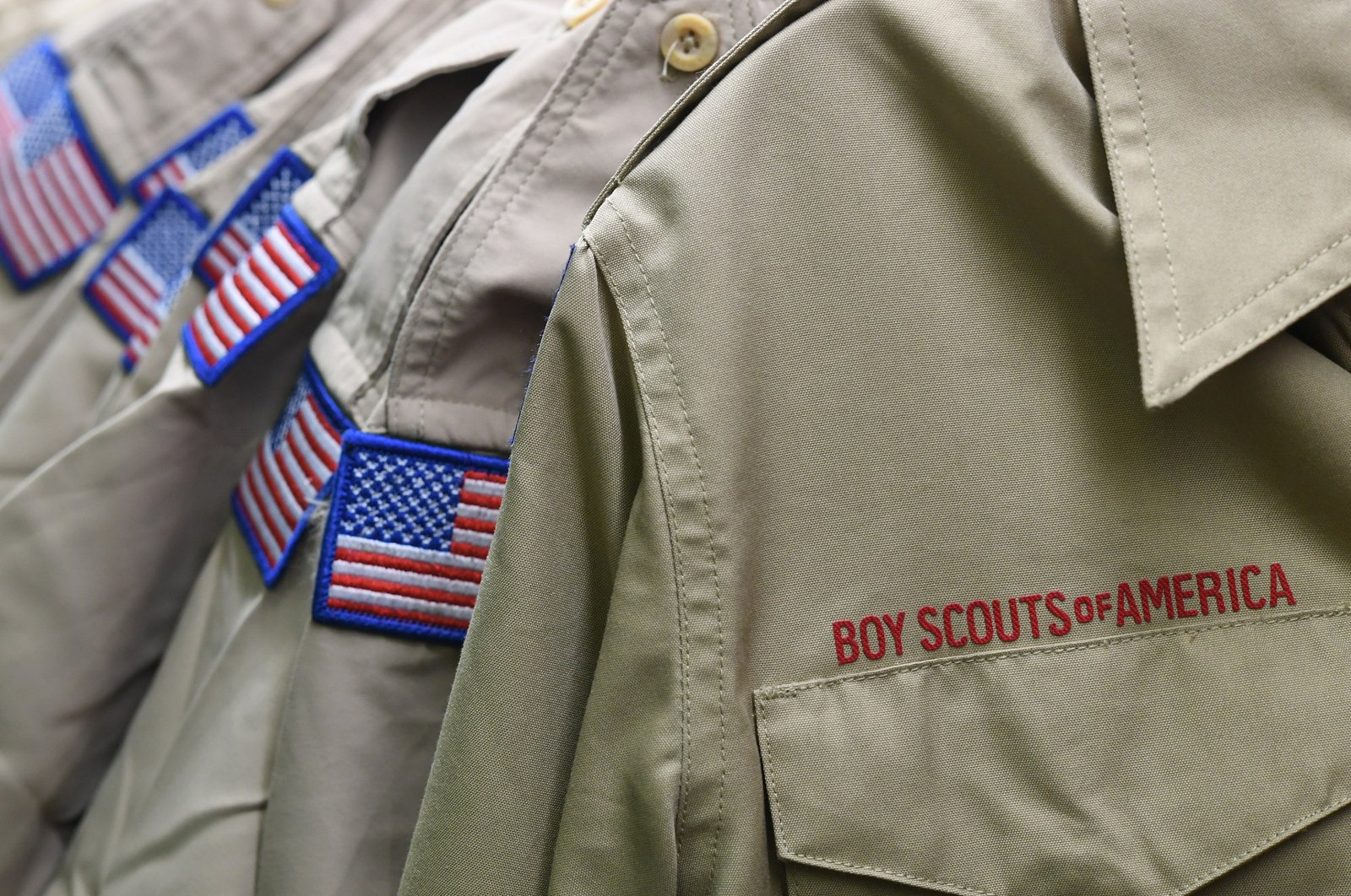 Boy Scouts of America uniforms are displayed in the retail store at the headquarters for the French Creek Council of the Boy Scouts of America in Summit Township, PA, on Feb. 18, 2020. (AP Photo)