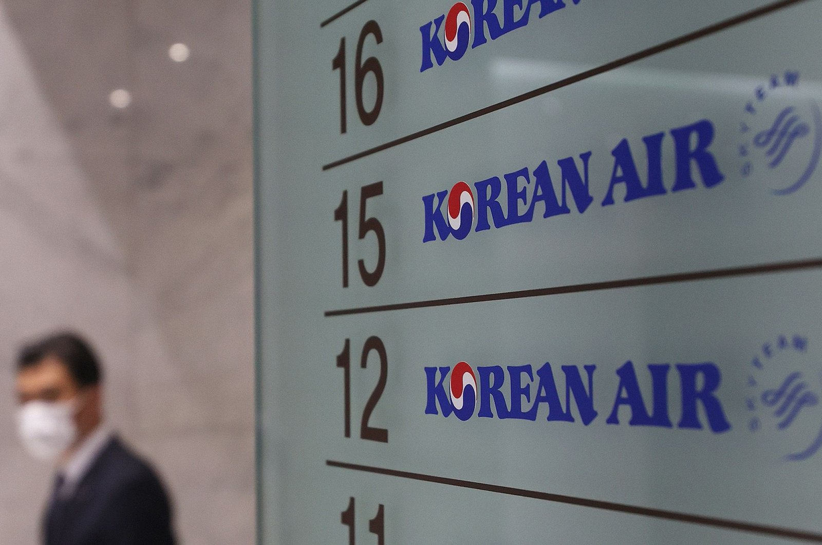 Korean Air logos are displayed at the company's offices in Seoul, South Korea on Nov. 16, 2020. (AFP Photo)