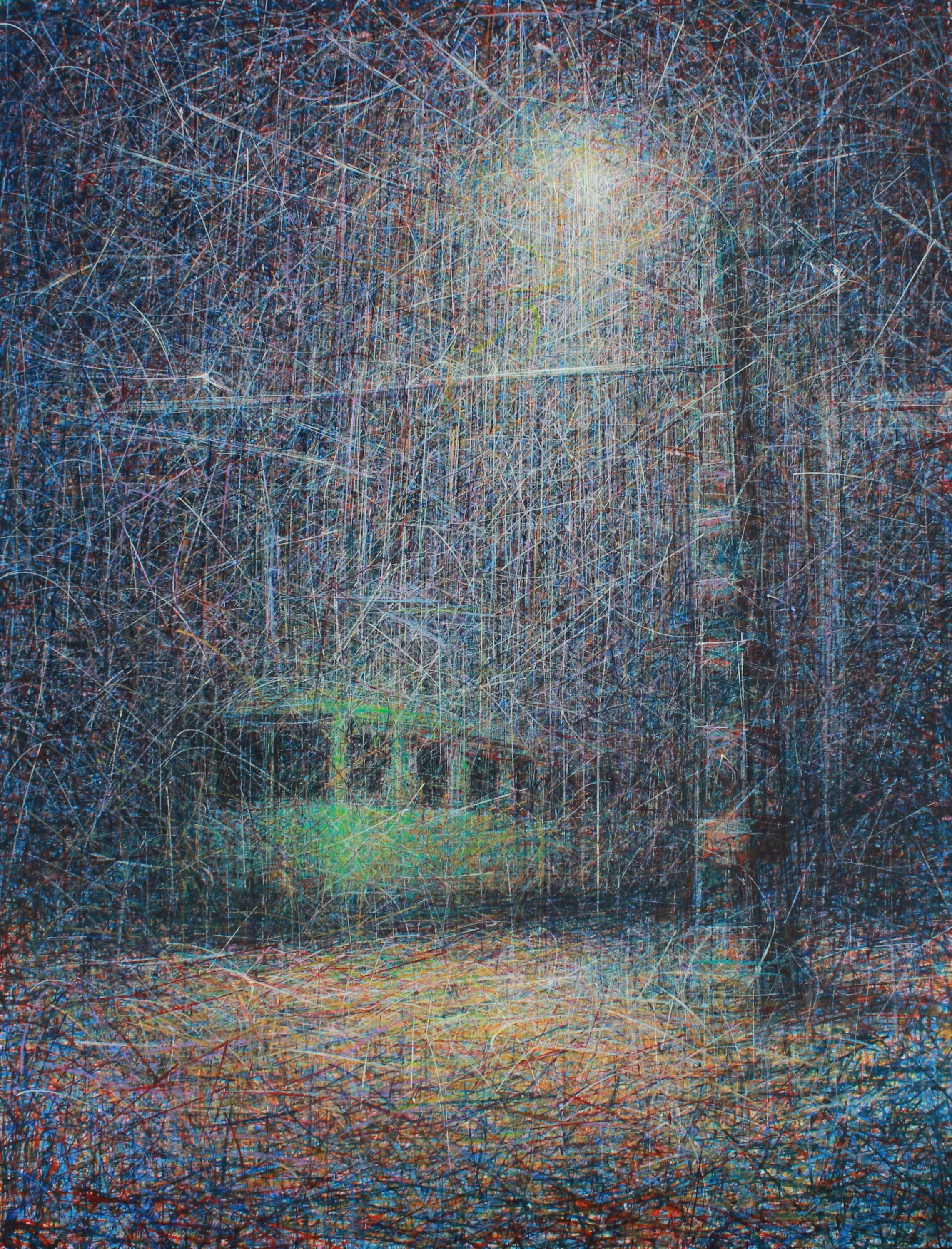 Nevres Akın depicts a train with strings connecting to each other. (Courtesy of Hungarian Cultural Center)