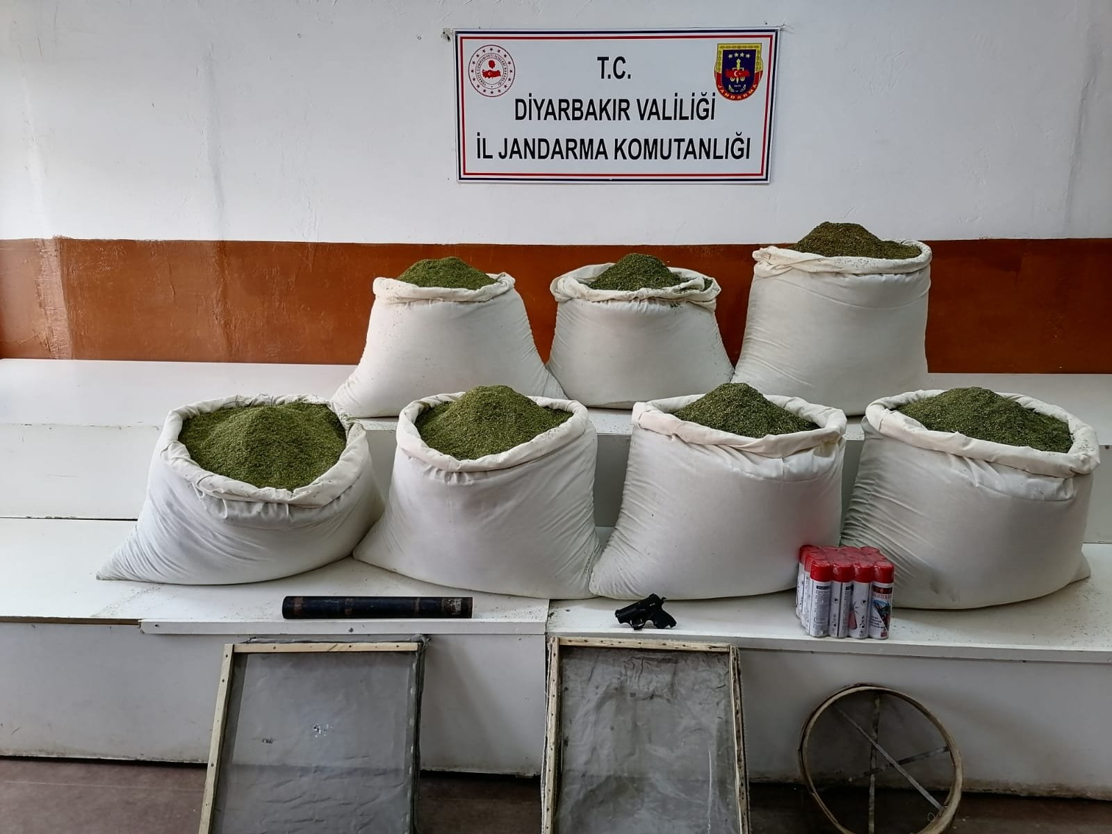Seized marijuana on display at security forces headquarters in Diyarbakır, southeastern Turkey, Nov. 17, 2020. (AA Photo)