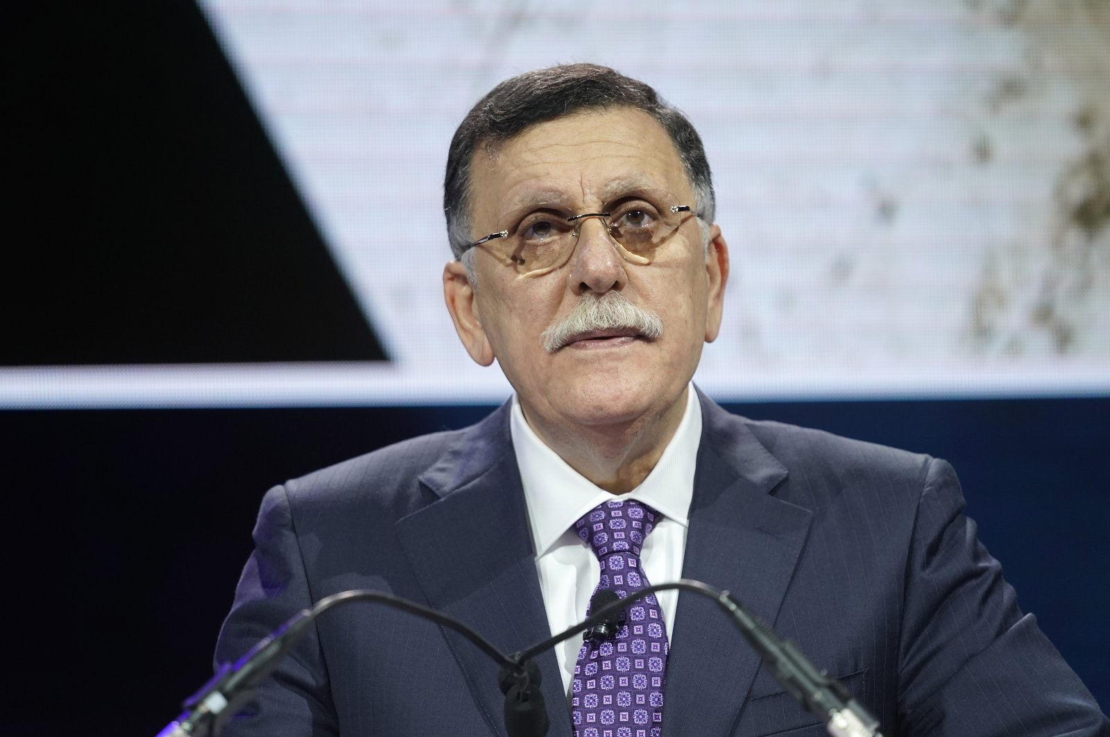 Prime minister of Libya's Government Of National Accord (GNA), Fayez Sarraj, speaks at the 2019 Concordia Annual Summit, New York City, U.S., Sept. 23, 2019. (Getty Images for Concordia Summit)
