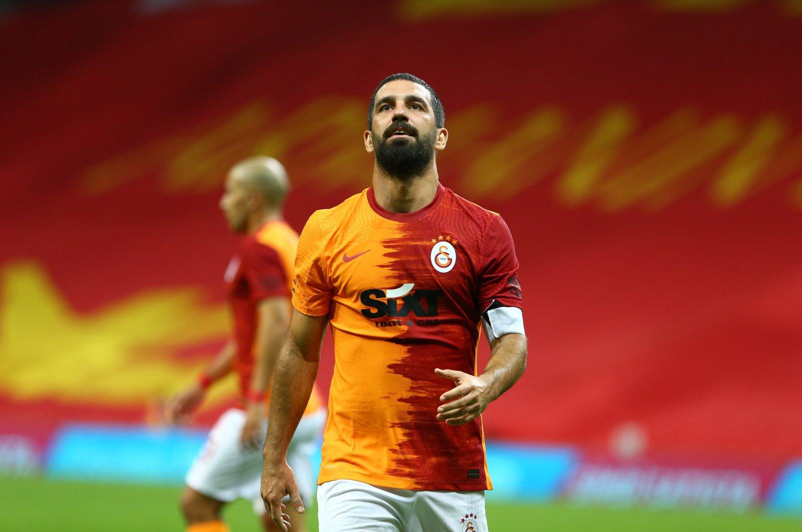 Galatasaray's Arda Turan reacts during a Süper Lig match against Fenerbahçe, in Istanbul, Turkey, Sept. 27, 2020. (Photo by Mustafa Nacar)