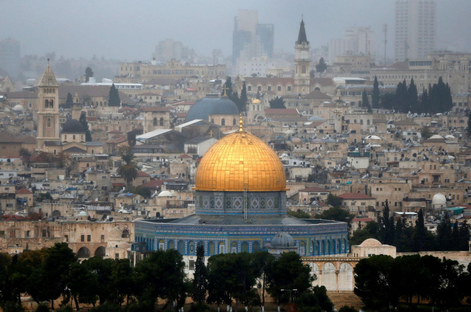 The old city of Jerusalem with the Dome of the Rock in the center, Israel, Dec. 6, 2017. (AFP Photo)